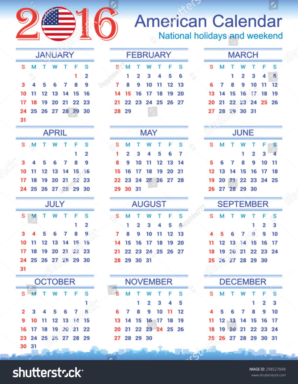 2016 American Calendar Stock Vector 298527848 - Shutterstock