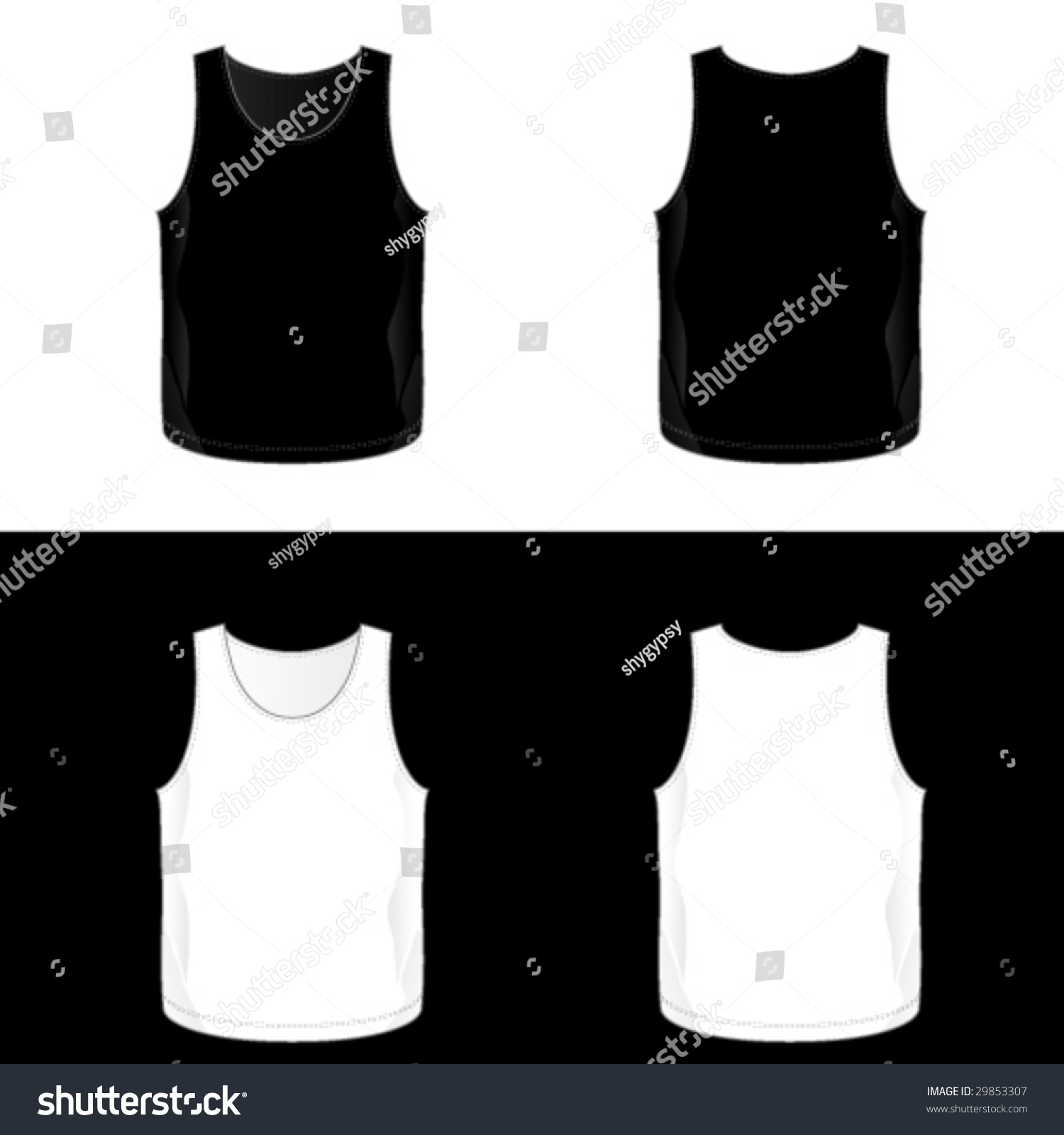 Black t shirt vector template - Black And White Realistic Blank Men S Tank Top Templates See Also V
