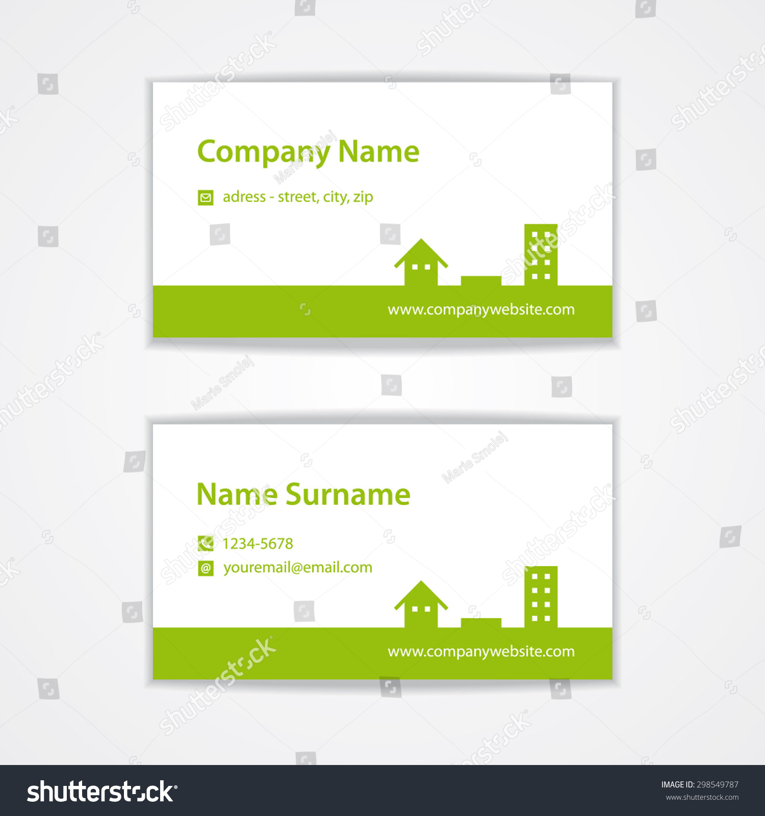 Vector Green Modern Visiting Business Card Stock Vector 298549787 ...