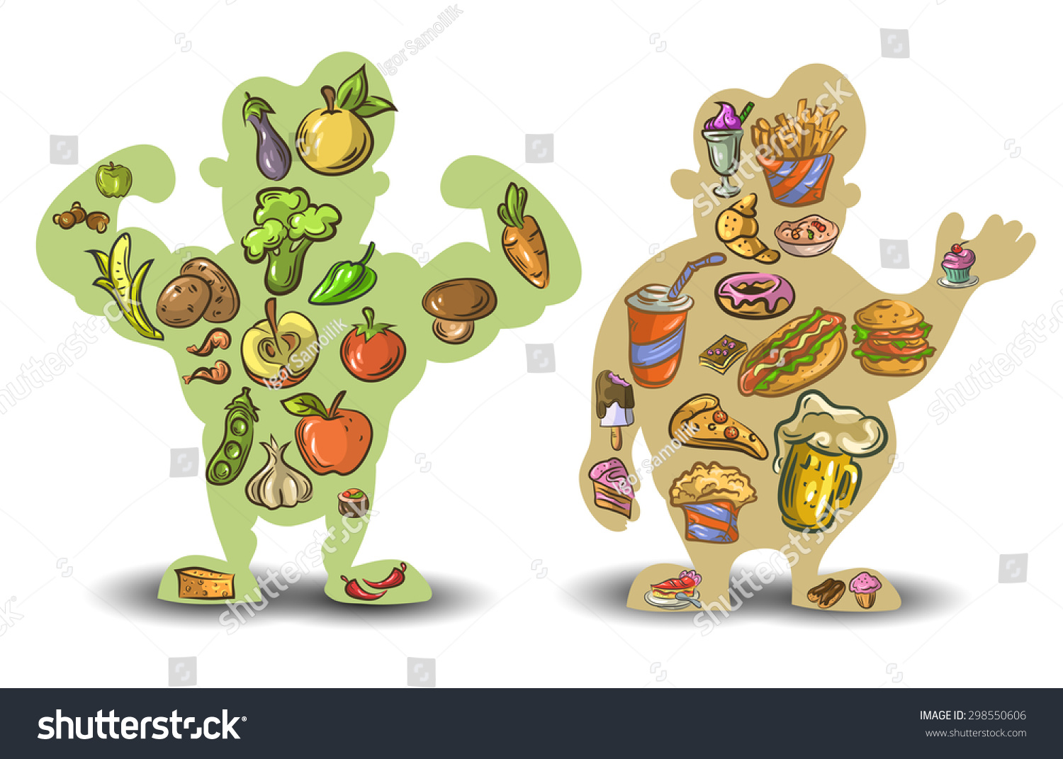 Human thin fat Nutrition diet food Vector illustration