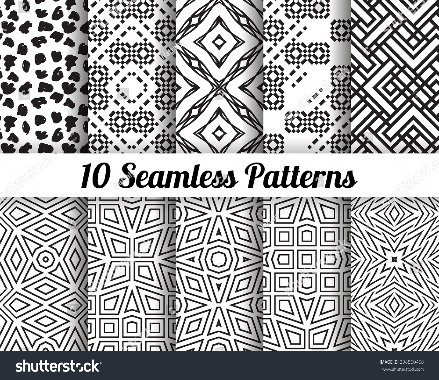 Set of 10 Abstract patterns Black and white geometric seamless vector backgrounds