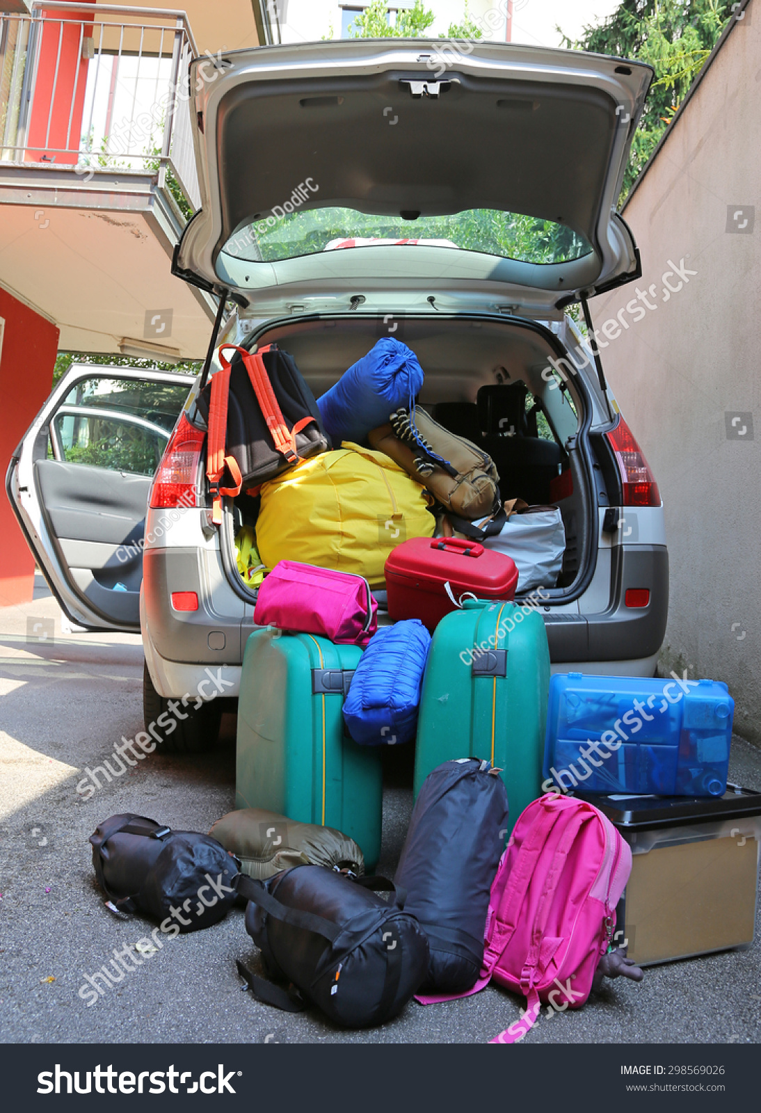 luggage and suitcases in car for departure for summer holidays stock photo 298569026 shutterstock. Black Bedroom Furniture Sets. Home Design Ideas