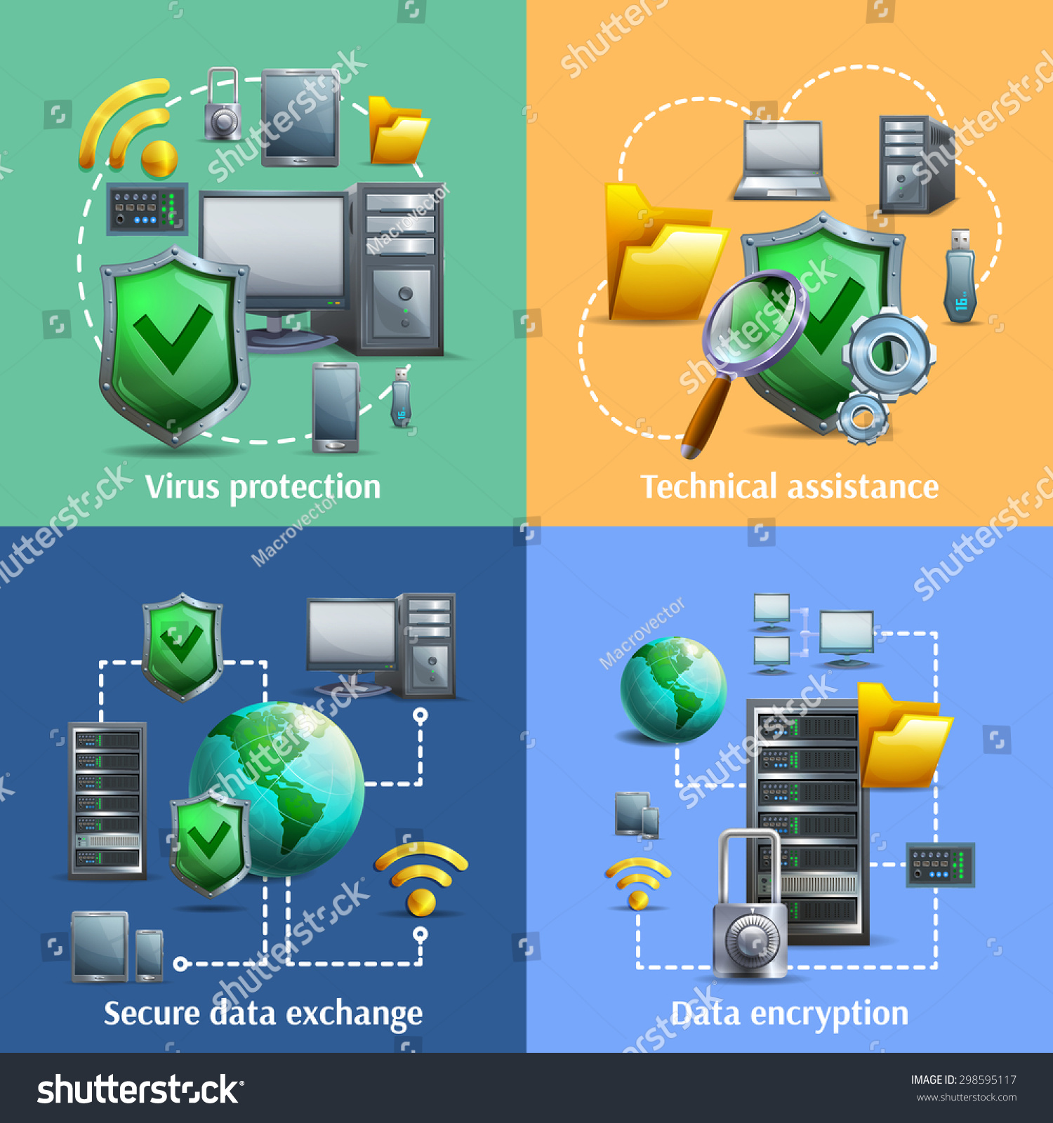 Security Encryption: Data Encryption Security Exchange Cartoon Icons Stock