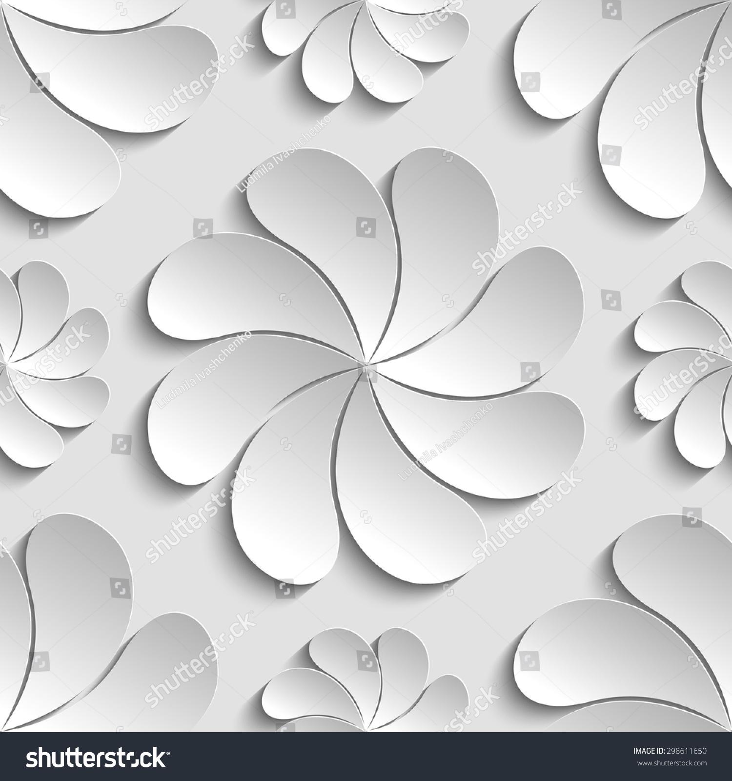 seamless pattern white 3d paper flower stock vector