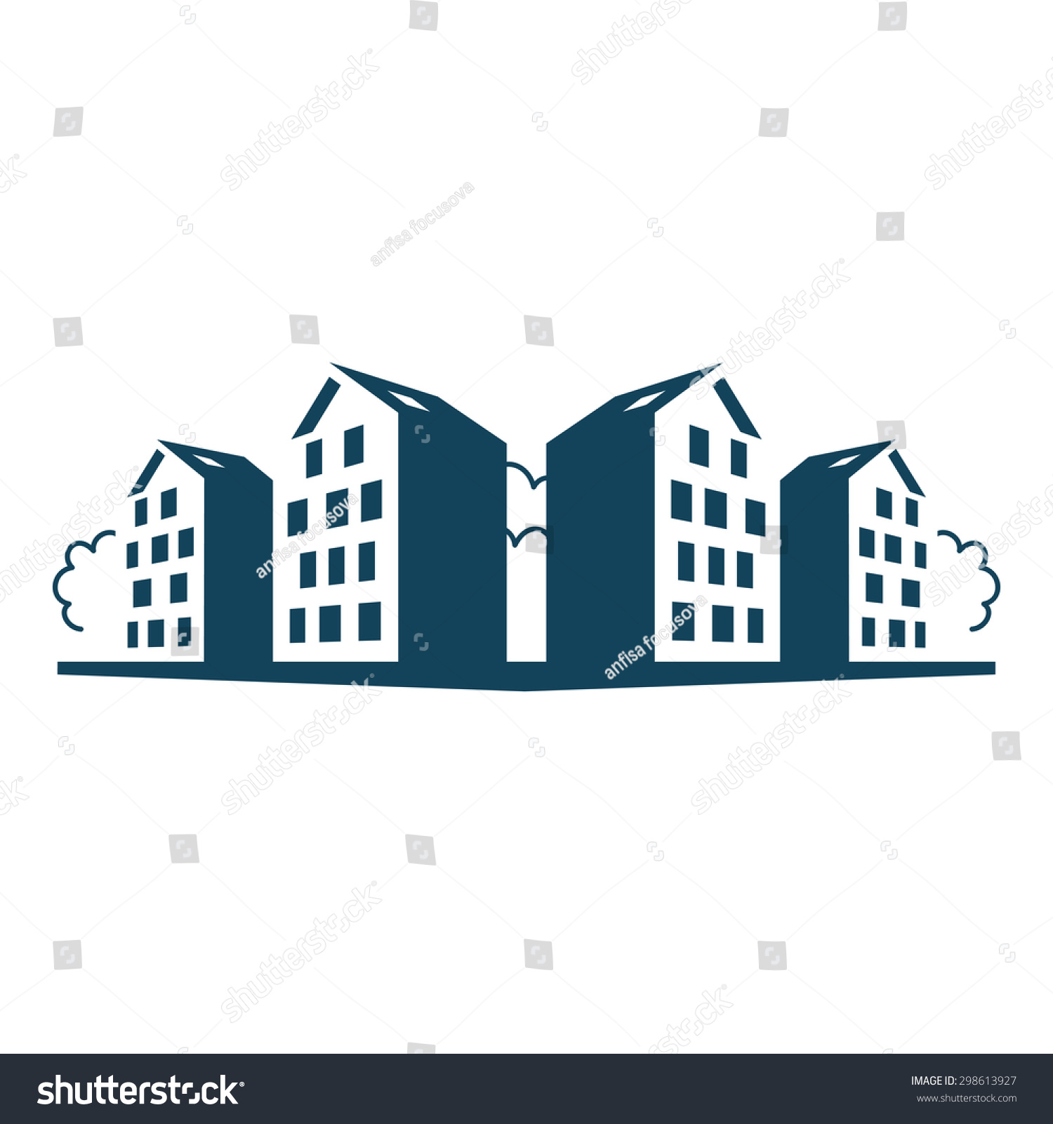 group apartment houses logo design template stock