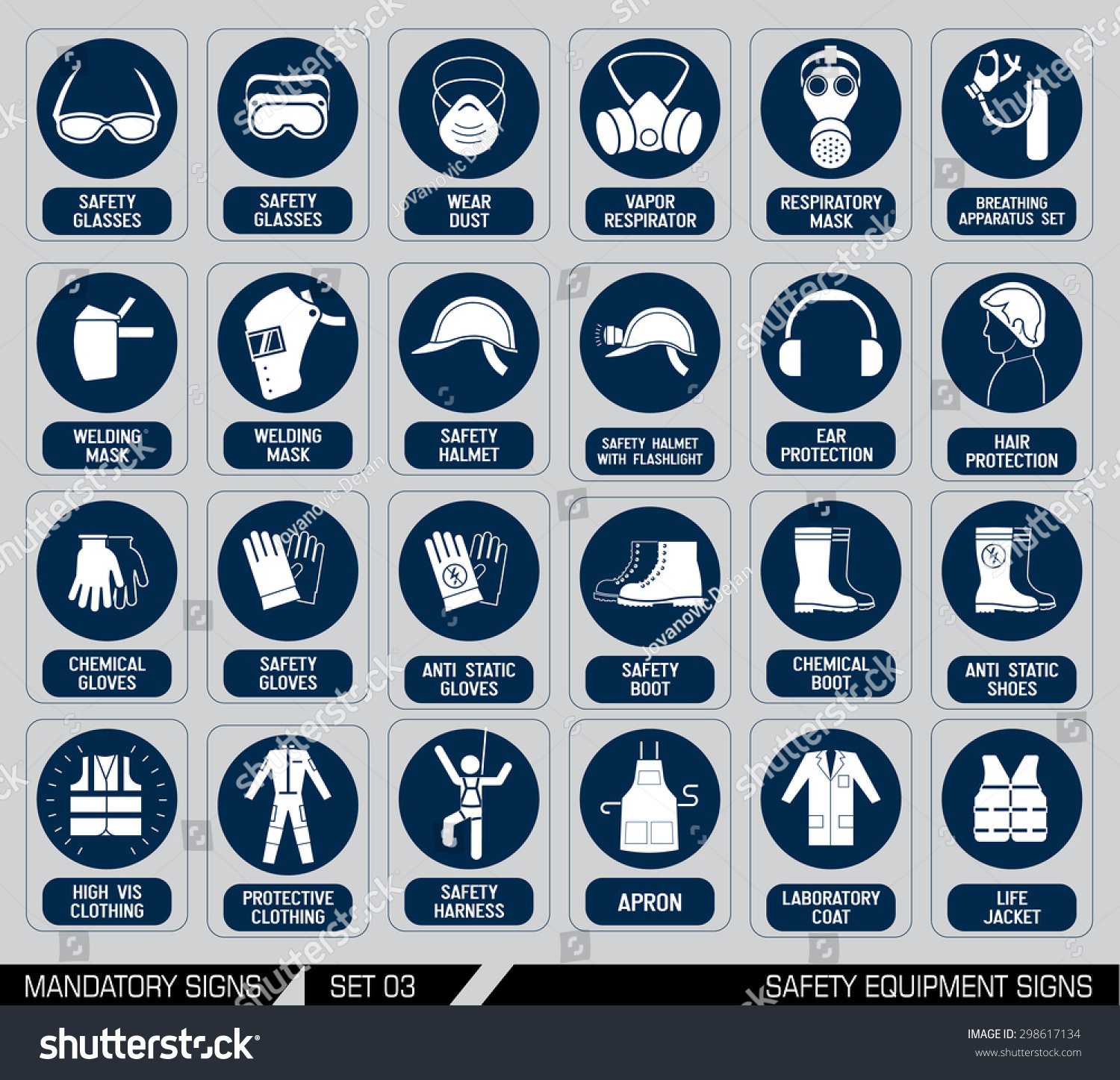 Set Safety Equipment Signs Mandatory Construction Stock Vector 2018