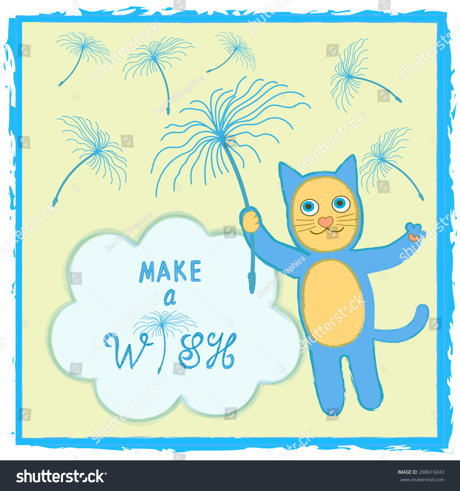 Cat Birthday Card Template Cute Smiling Stock Vector