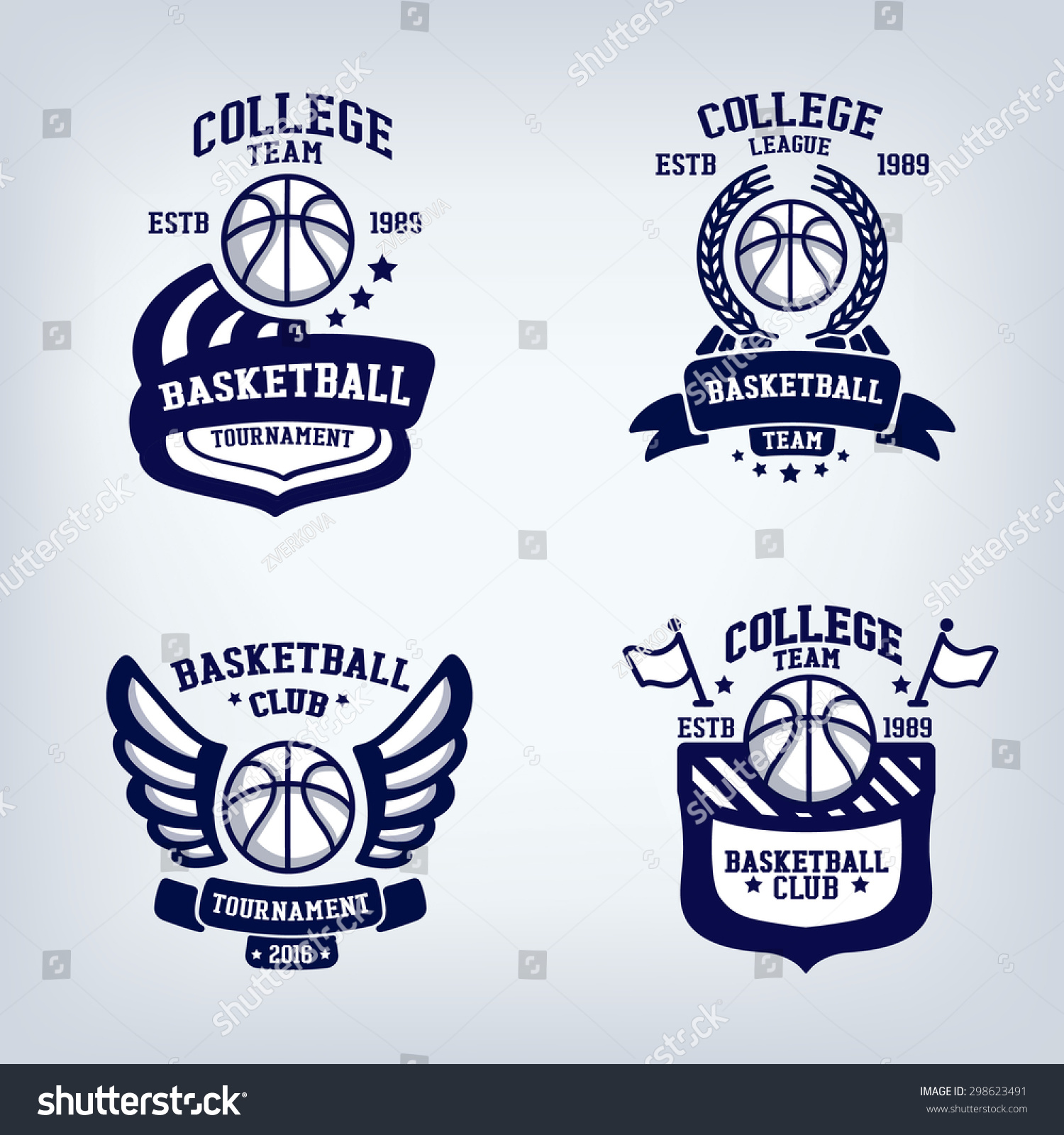 basketball club emblem college league logo stock vector 298623491 shutterstock. Black Bedroom Furniture Sets. Home Design Ideas