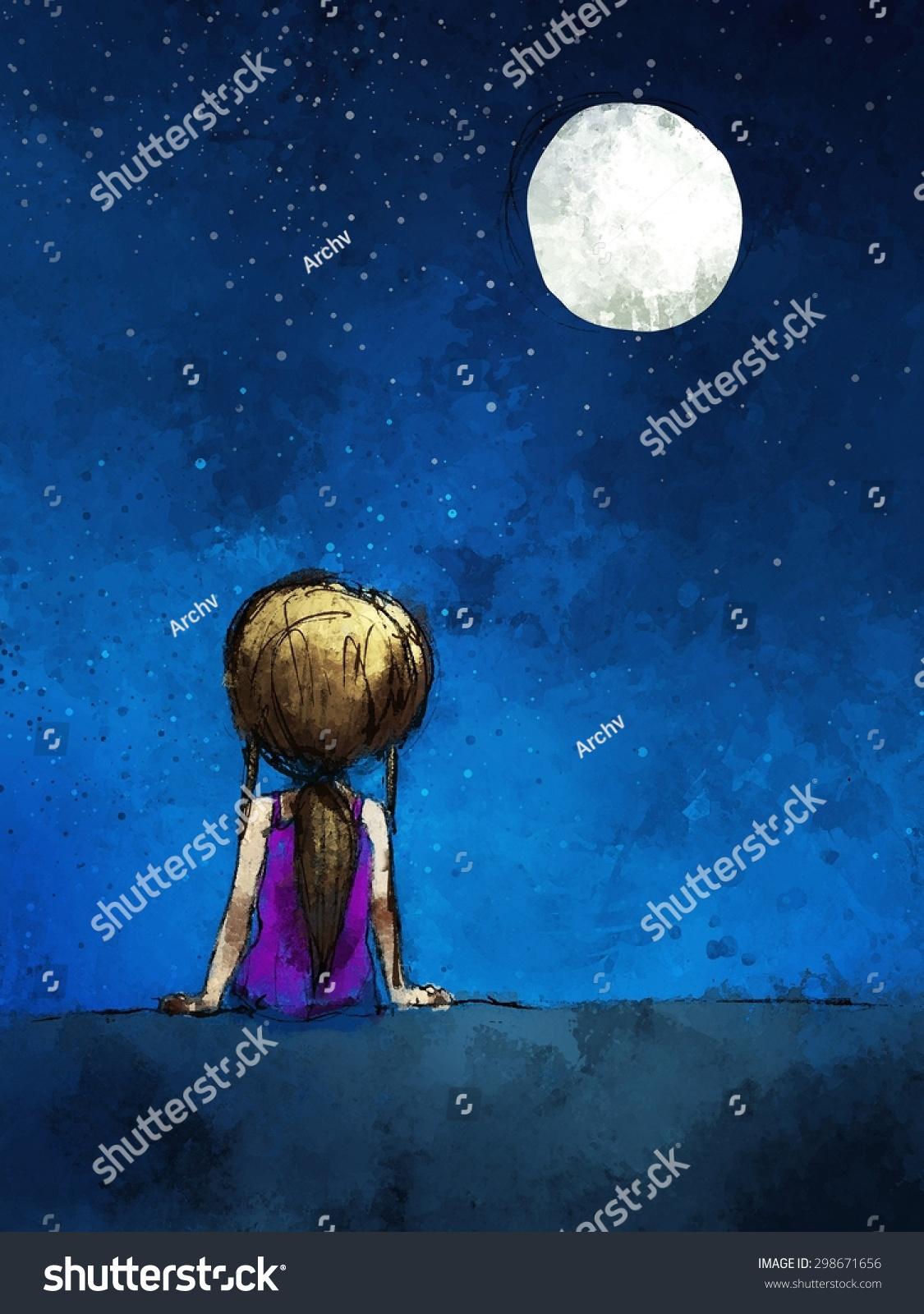 Digital Painting Girl Sitting Lonely Moonlight Stock ...