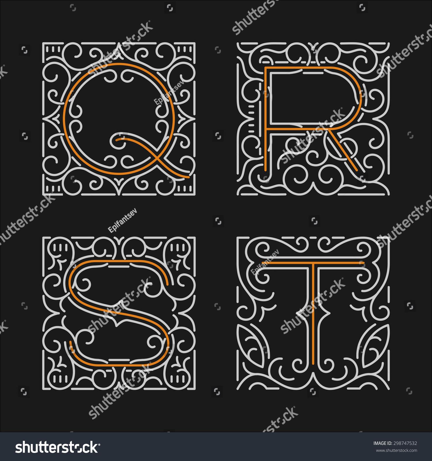 the set of monogram emblem templates elegant frames ornament logo design in line style with - Elegant Frames