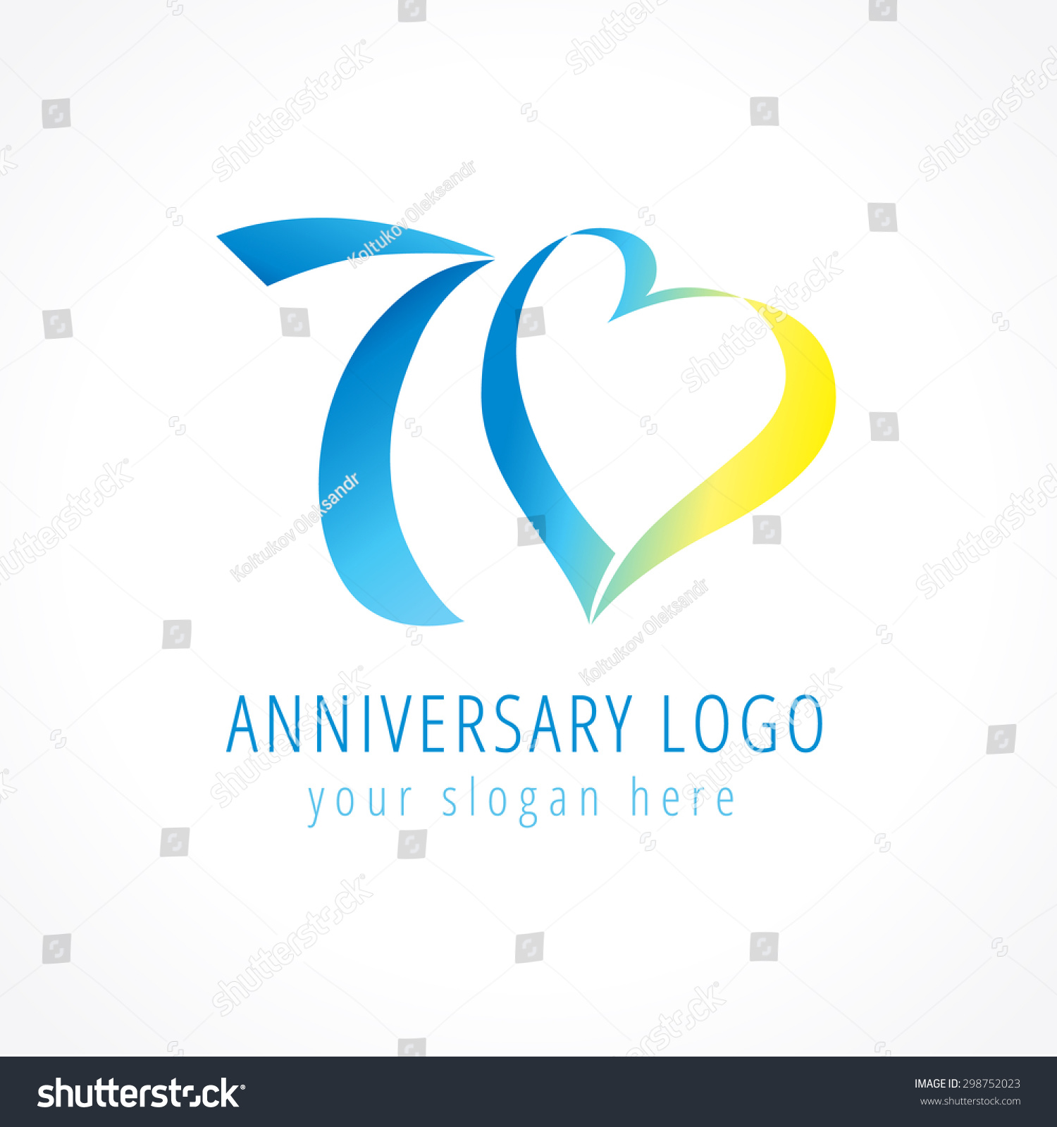 Anniversary 70 Years Old Hearts Celebrating Stock Vector Royalty