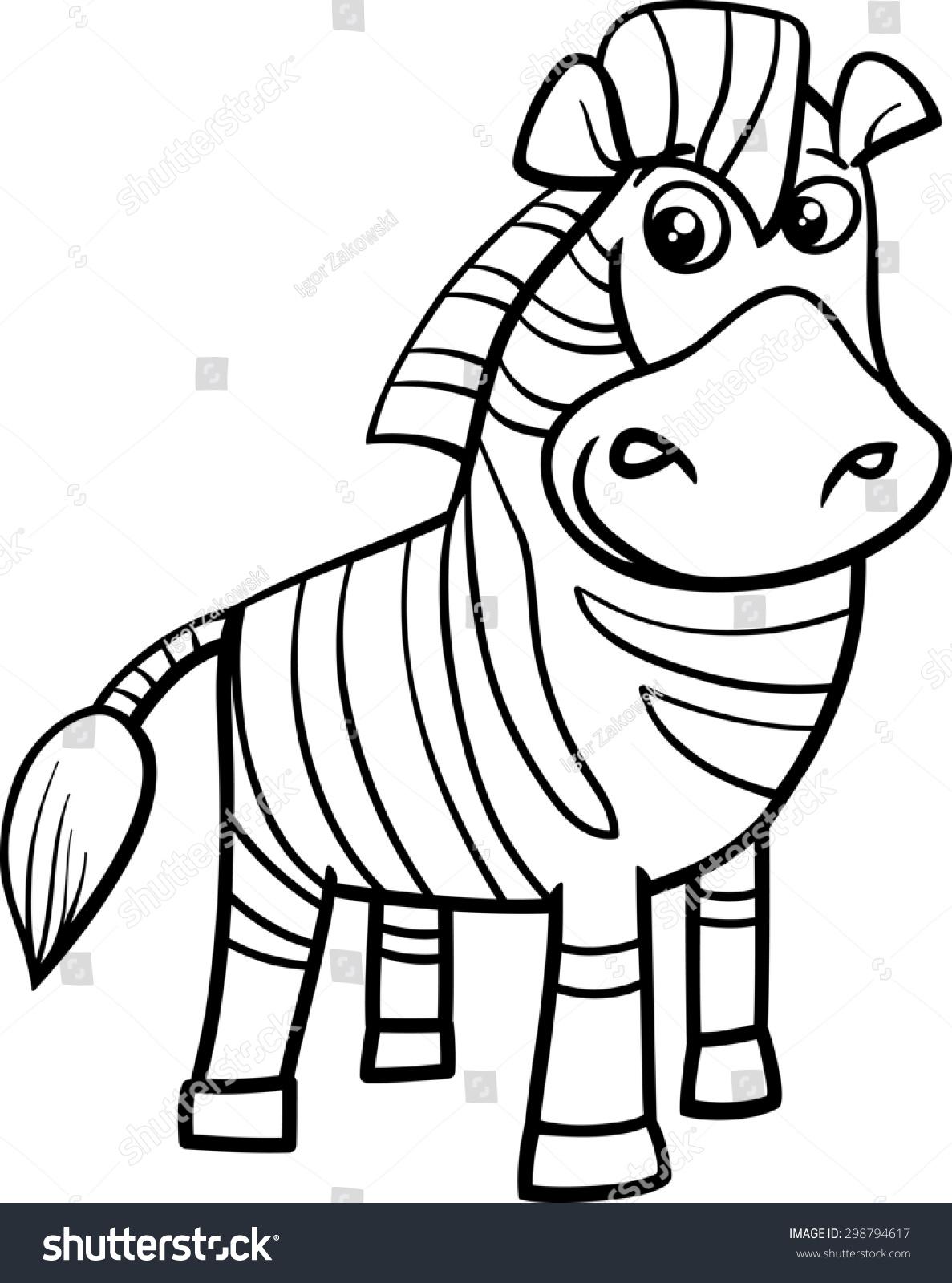 Black White Cartoon Illustration Funny Zebra Stock Illustration ...