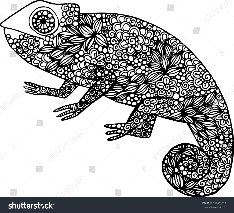 Chameleon Outline Tattoo: Hand Drawn Doodle Outline Chameleon Illustration Decorated