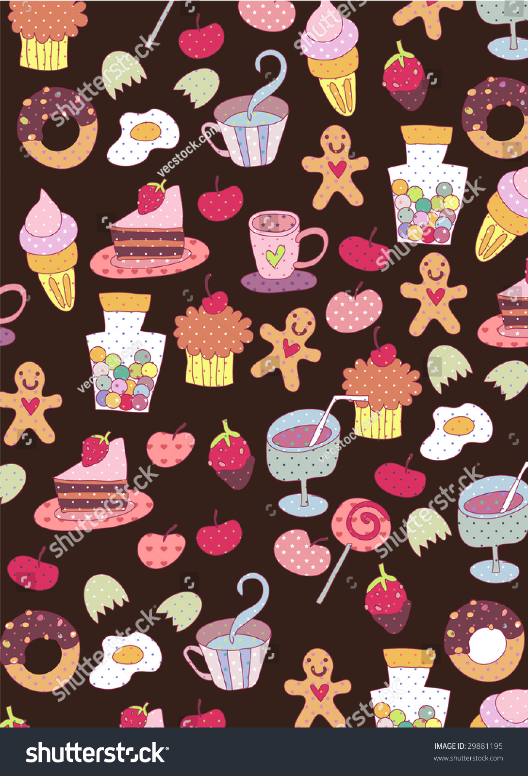 Cute Food Wallpaper Design Stock Vector 29881195