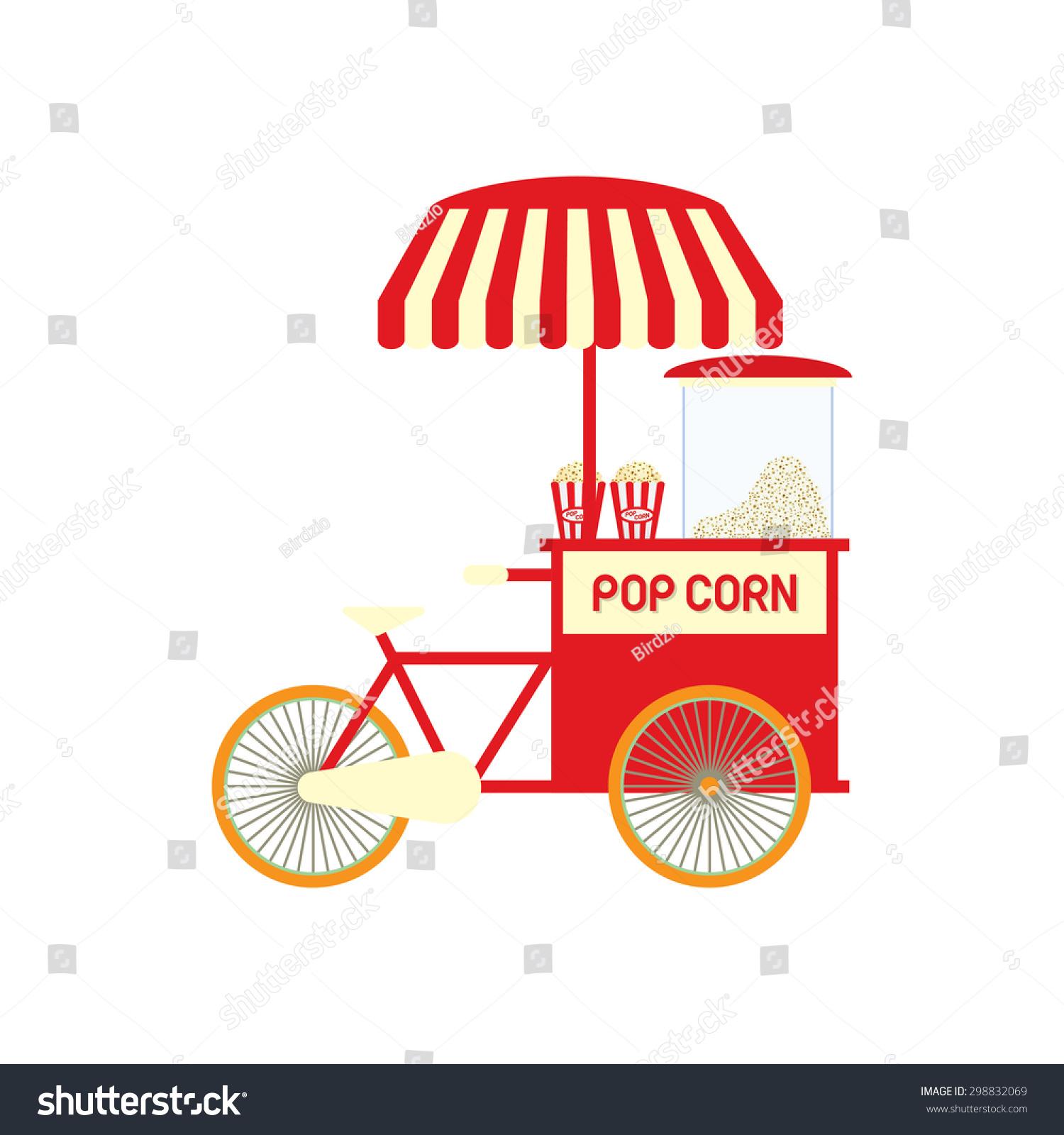Popcorn Cart Vector Illustration Stock Vector 298832069 - Shutterstock