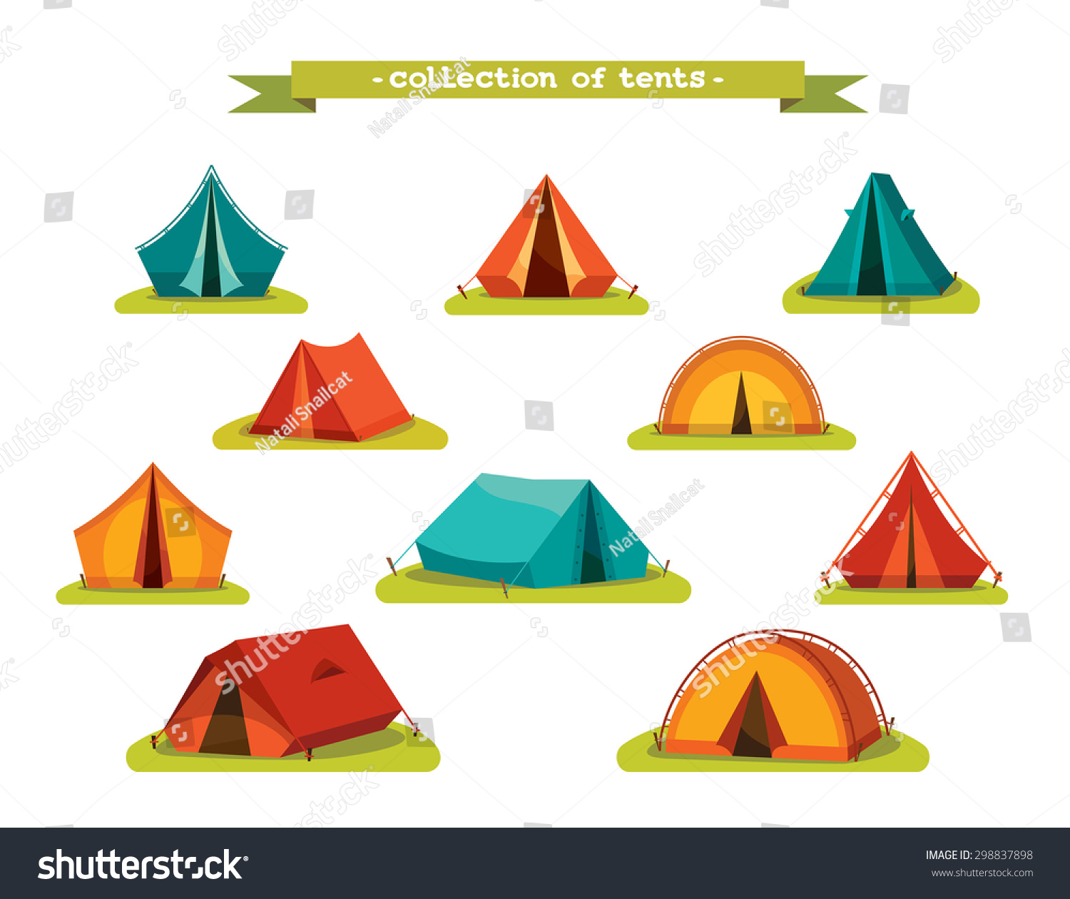 Set Tourist Tents Vector Illustration Collection Stock ...