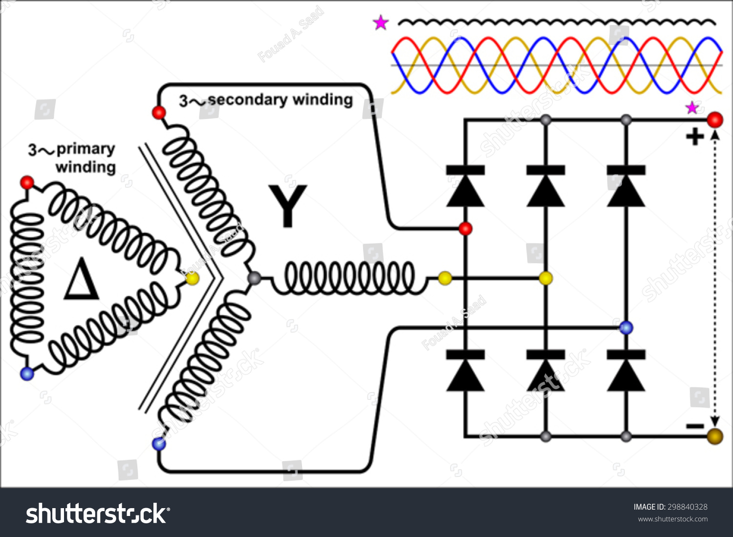 Three Phase Full Wave Rectifier Circuit Stock Vector Royalty Free Connection Diagram