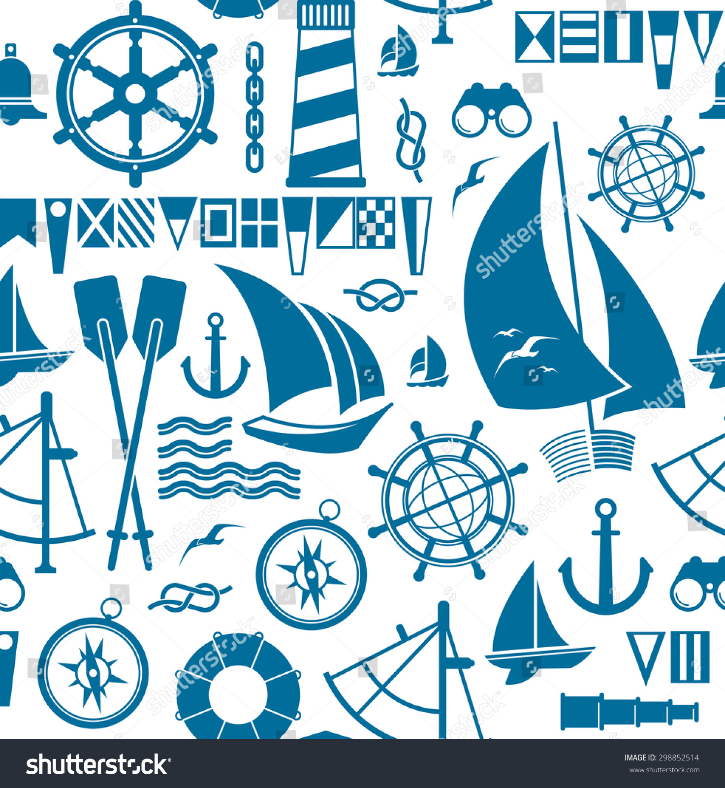 seamless background sailing symbols stock vector royalty free