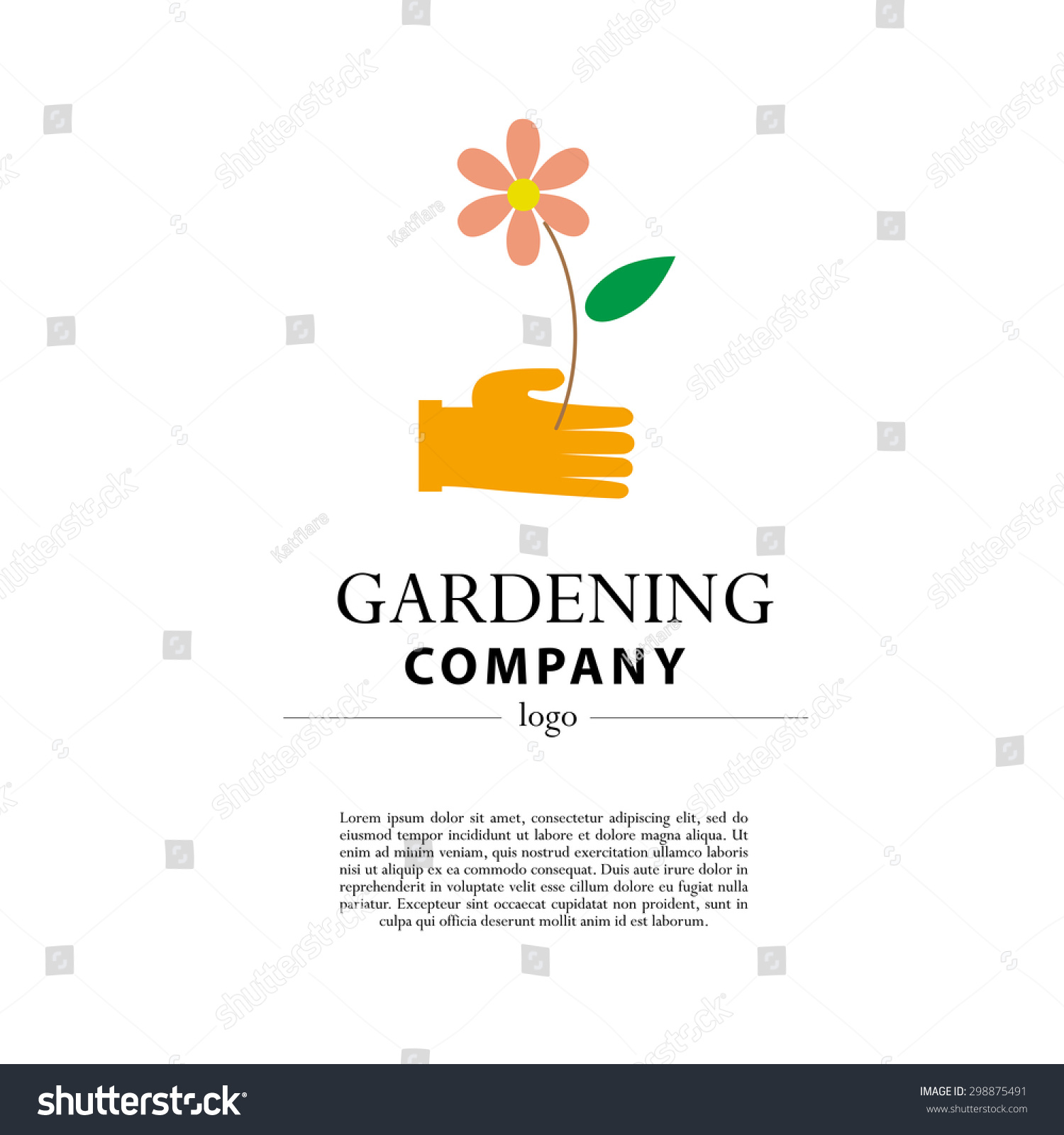 Vector Flat Illustration Of Gardening Company Logo With Text Place.  Gardening Flat Icons Collection.