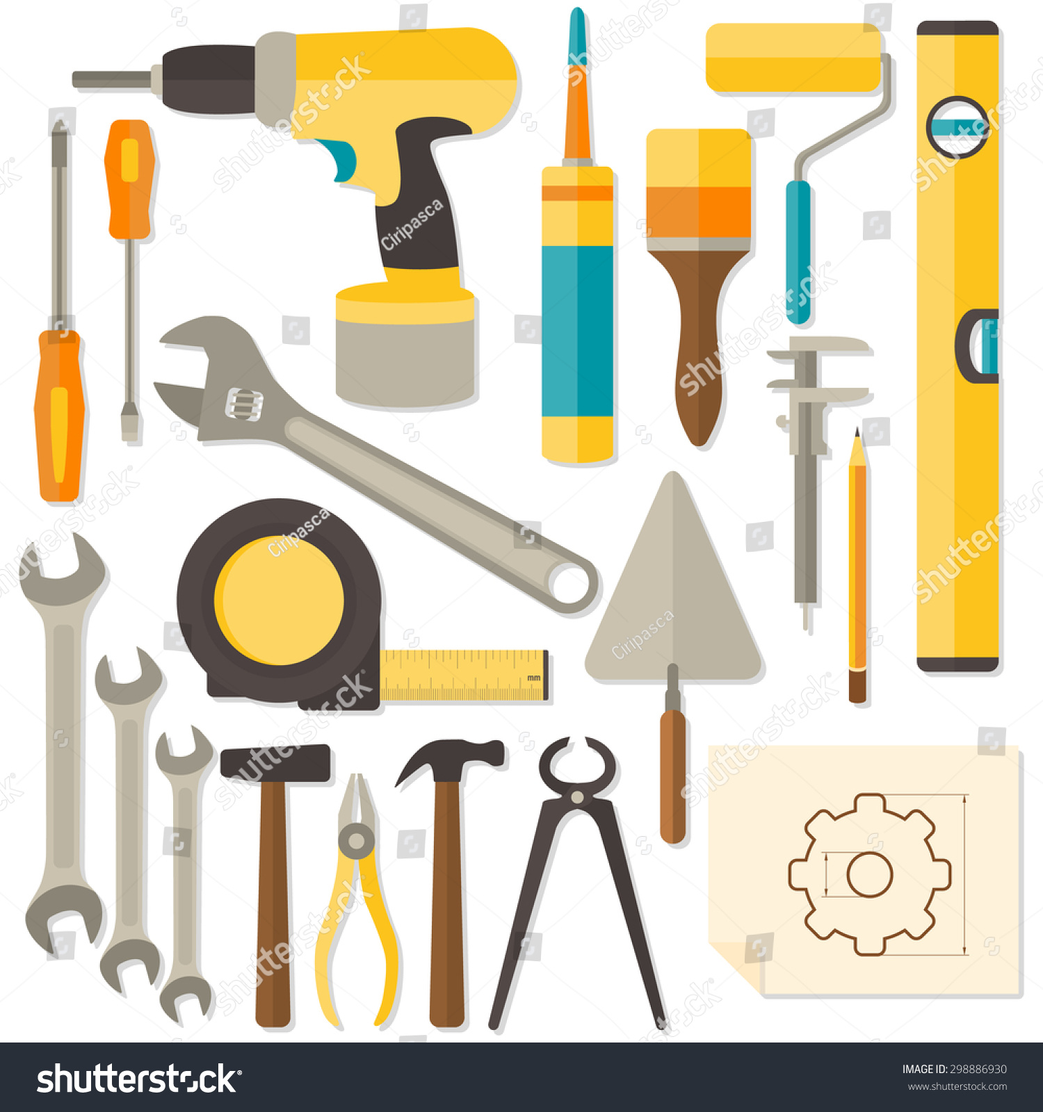Vector Flat Design DIY And Home Renovation Tools Isolated On White  Background.