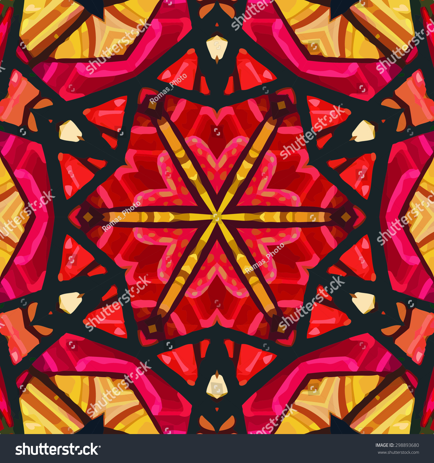 Stained Glass Pattern Seamless Symmetrical Background