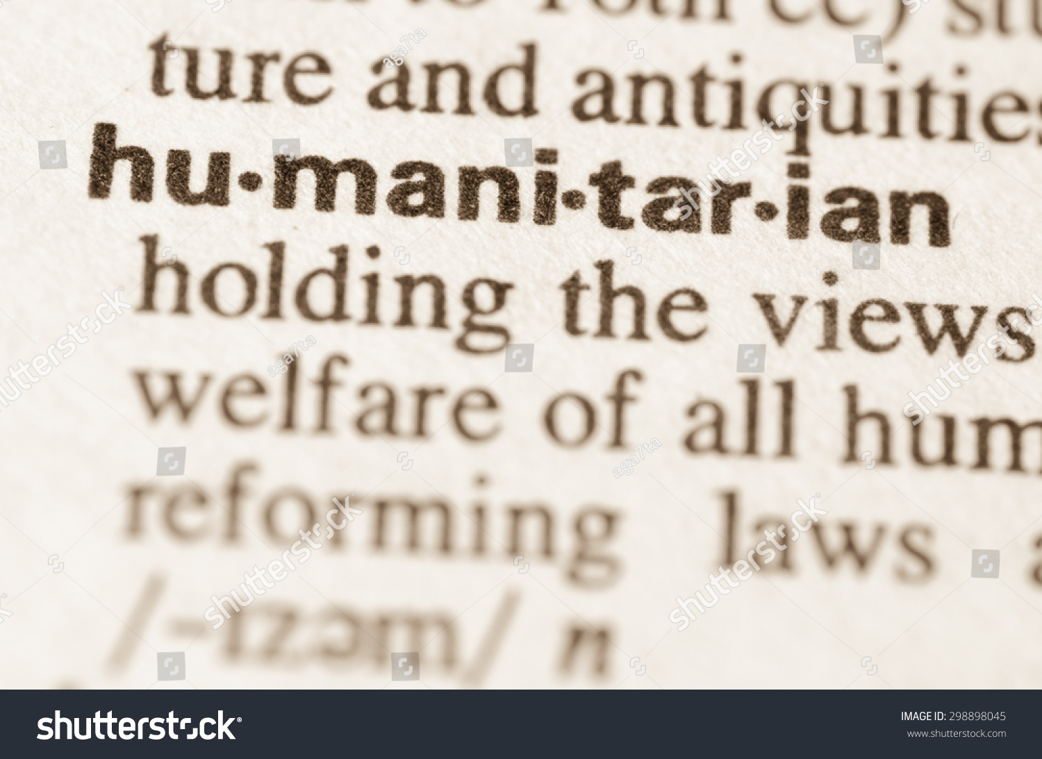 definition word humanitarian dictionary stock photo  definition of word humanitarian in dictionary