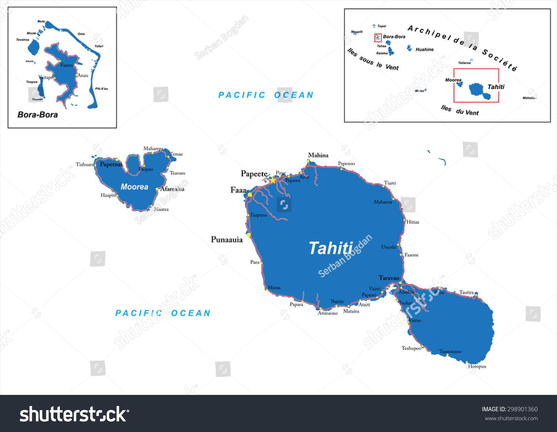 Tahiti Bora Bora Map Stock Vector (Royalty Free) 298901360 ...