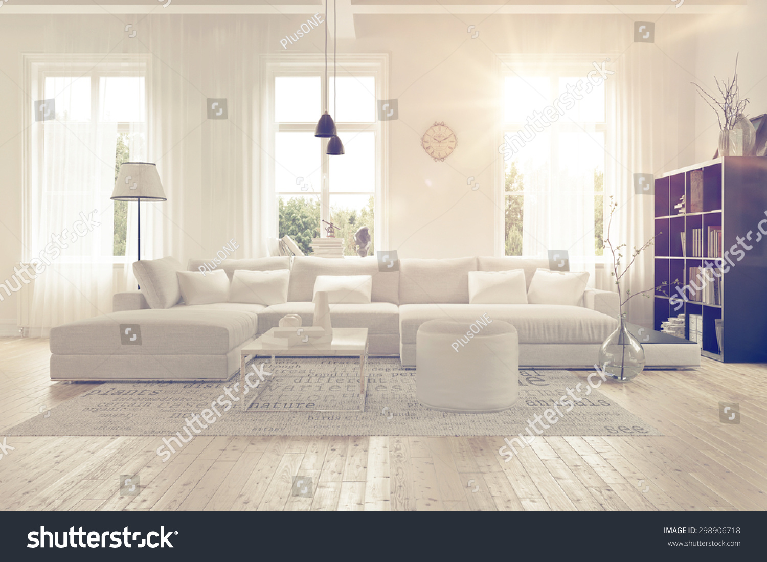Modern Spacious Lounge Living Room Interior Stock