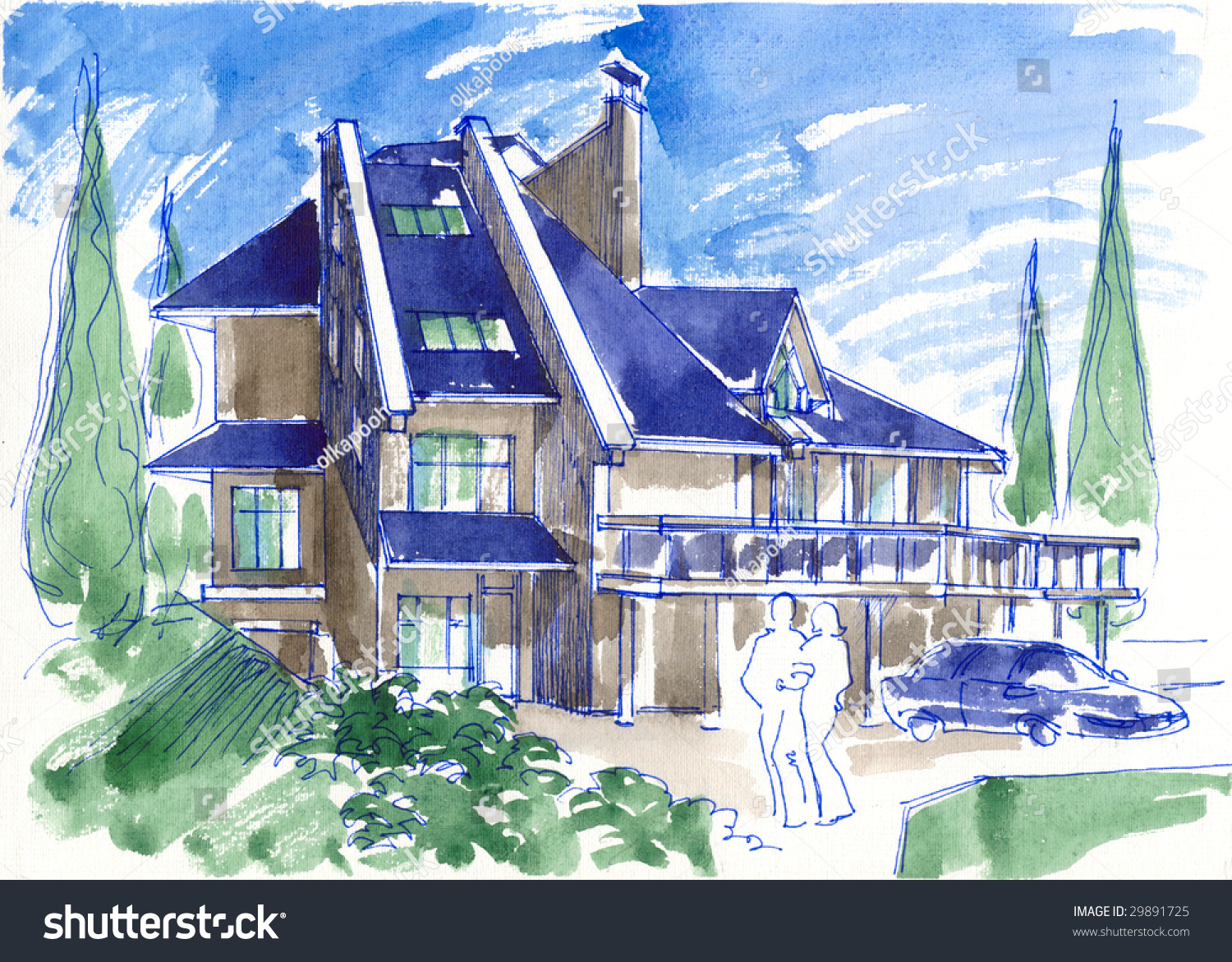 Watercolor Sketch Modern House Stock Illustration 29891725 ... - ^