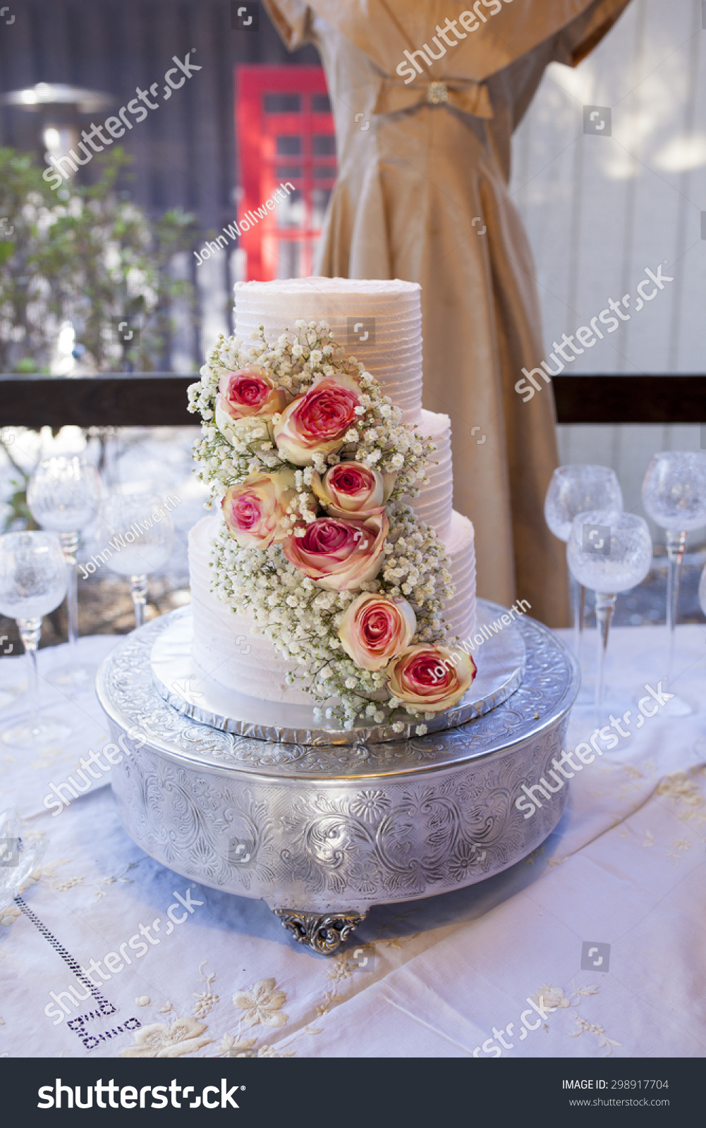 three tier wedding cakes with roses three tiered vintage wedding cake roses stock photo 20951