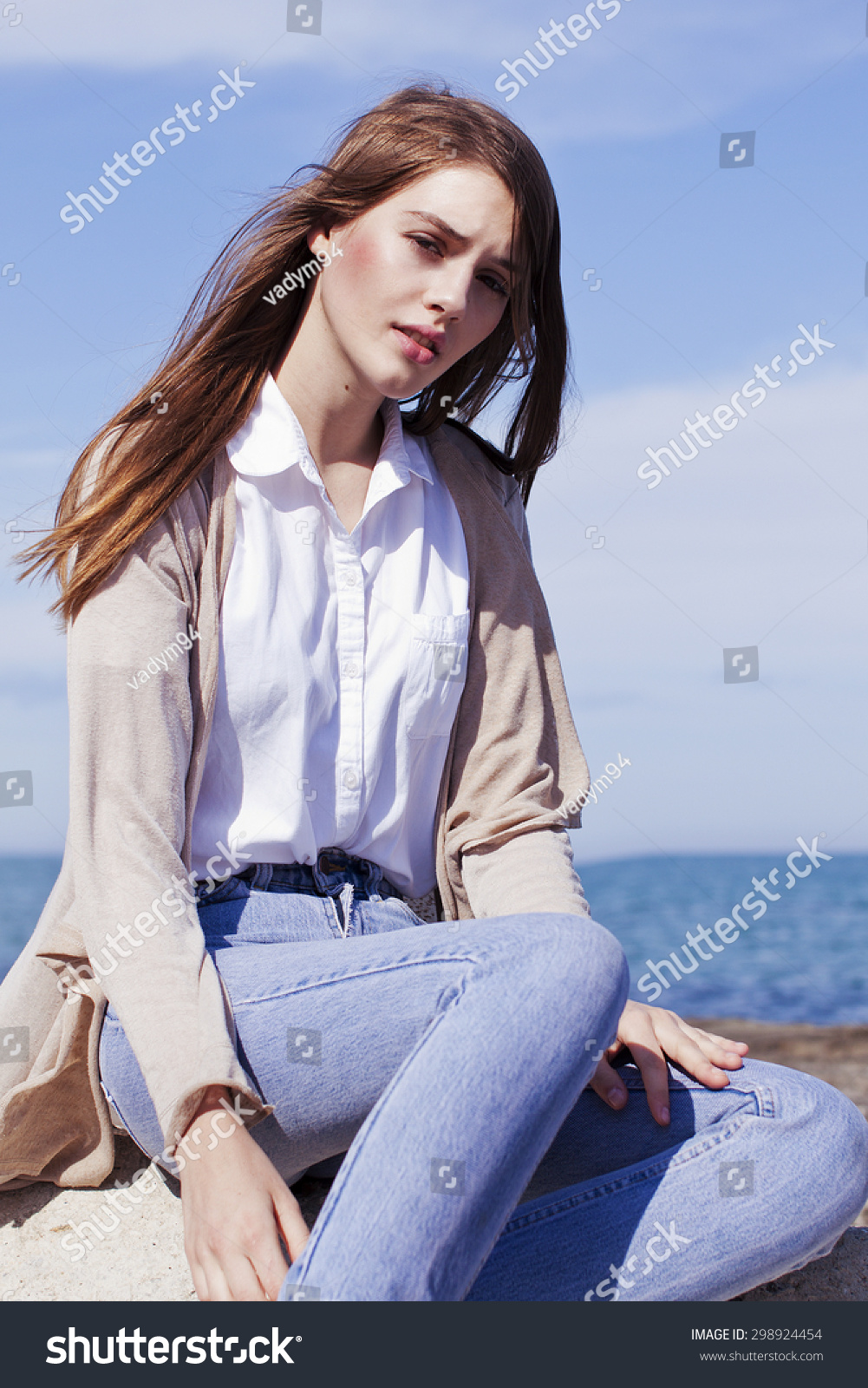 Groomed Young Beautiful Girl Long Dark Stock Photo 298924454 ...