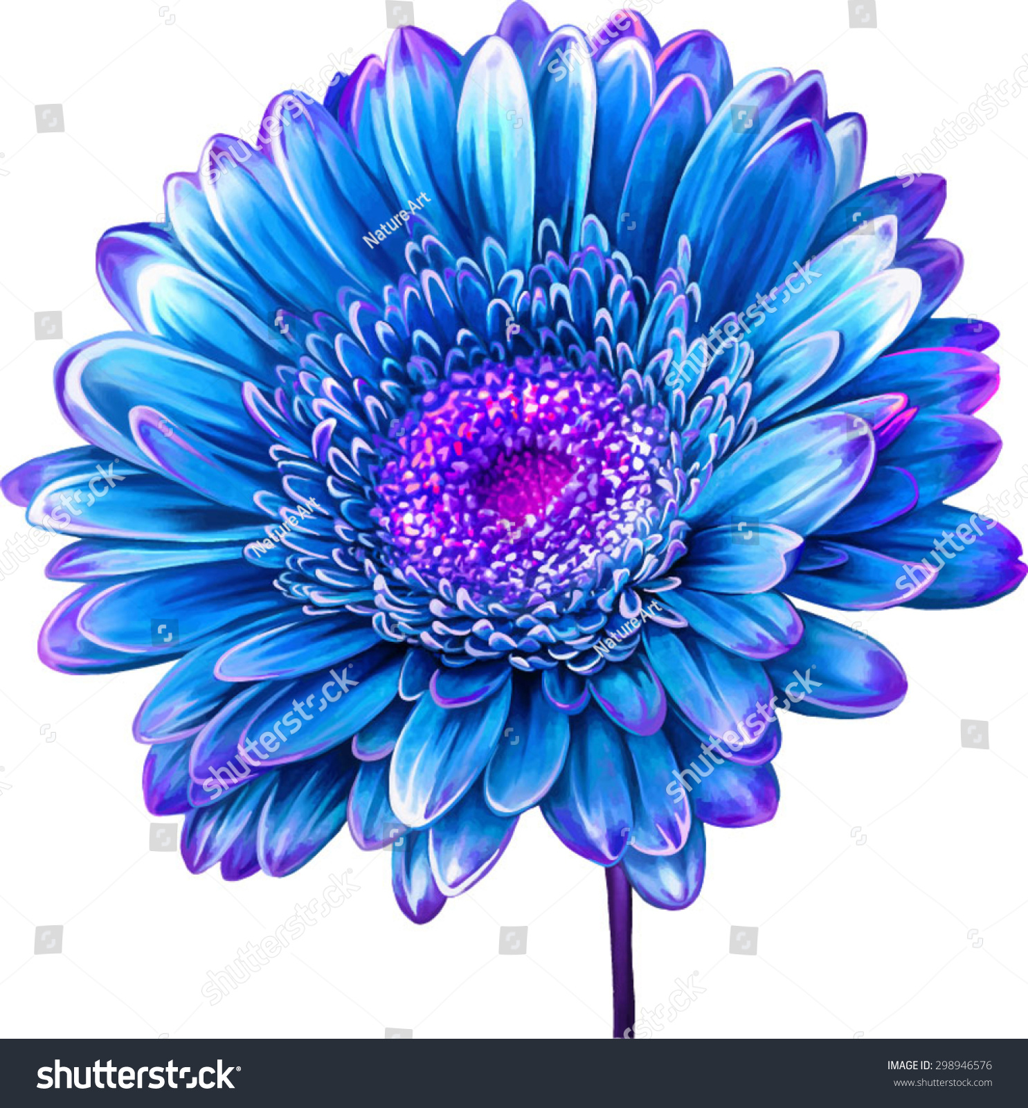 Vector Illustration Bright Blue Dahlia Flower Stock Vector Royalty