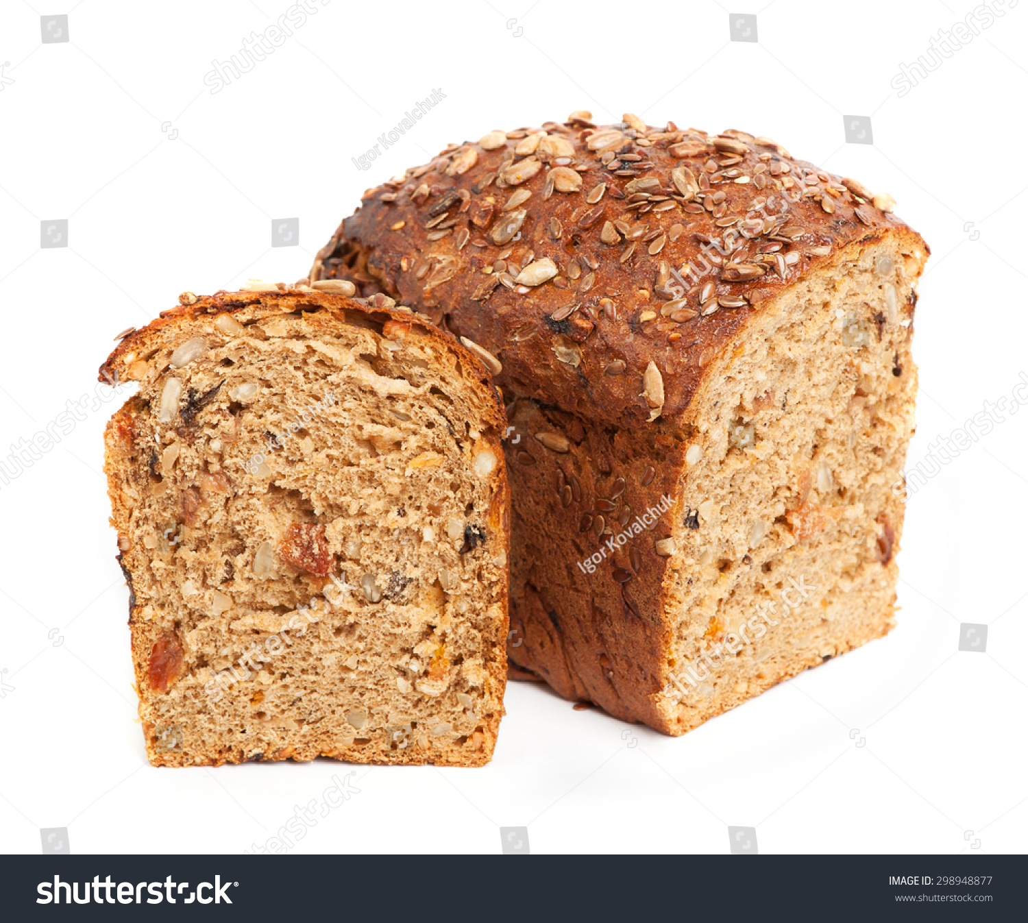 Homemade Brown Bread Cereals Isolated Over Stock Photo ...