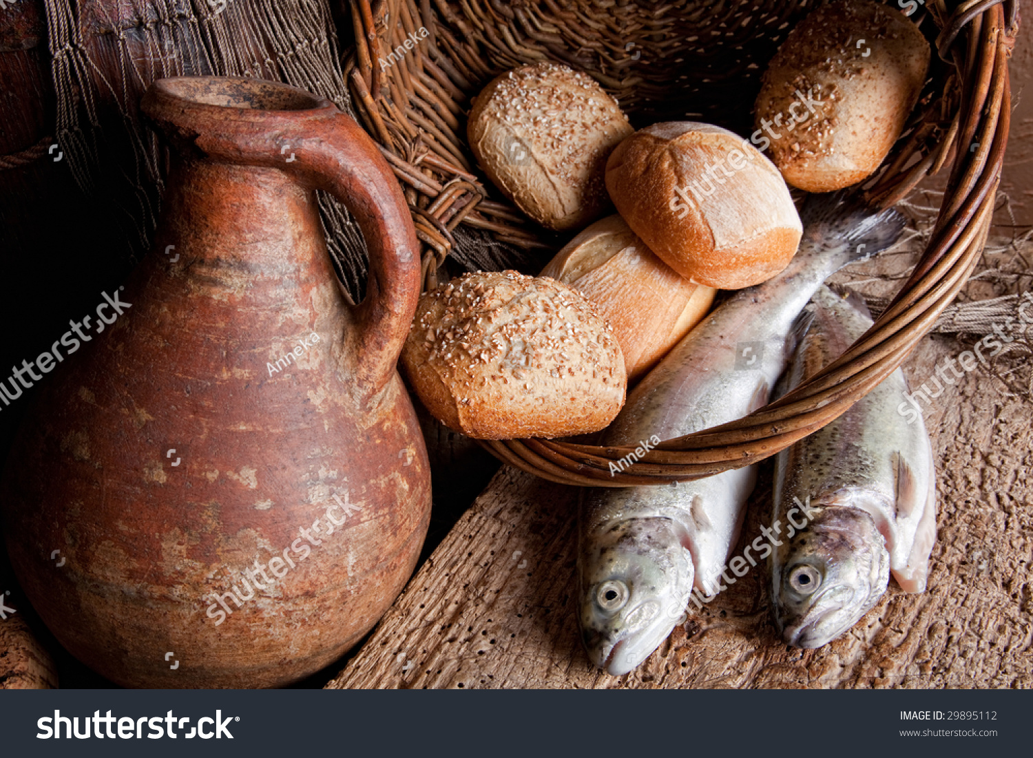 Wine loaves bread fresh fish old stock photo 29895112 for How to bread fish