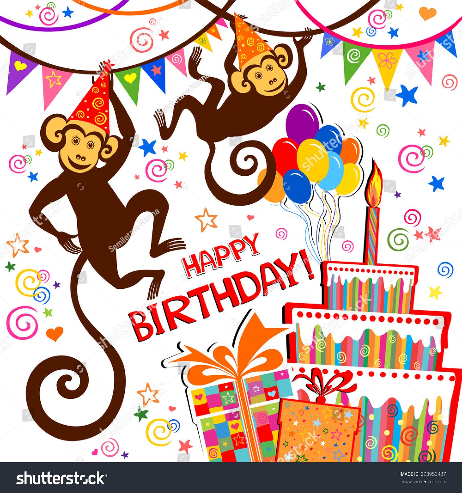 Birthday Card Celebration Background Birthday Cake Vector – Birthday Card Monkey
