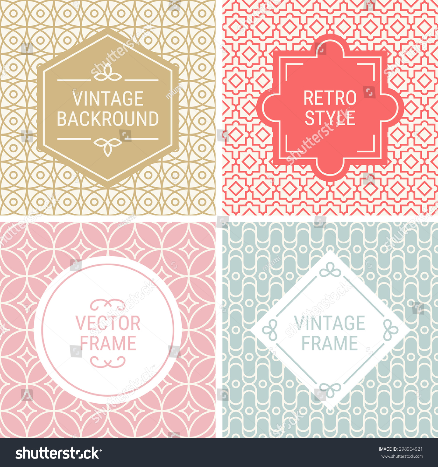 Set Vintage Frames Gold Red Pink Stock Vector Royalty Free