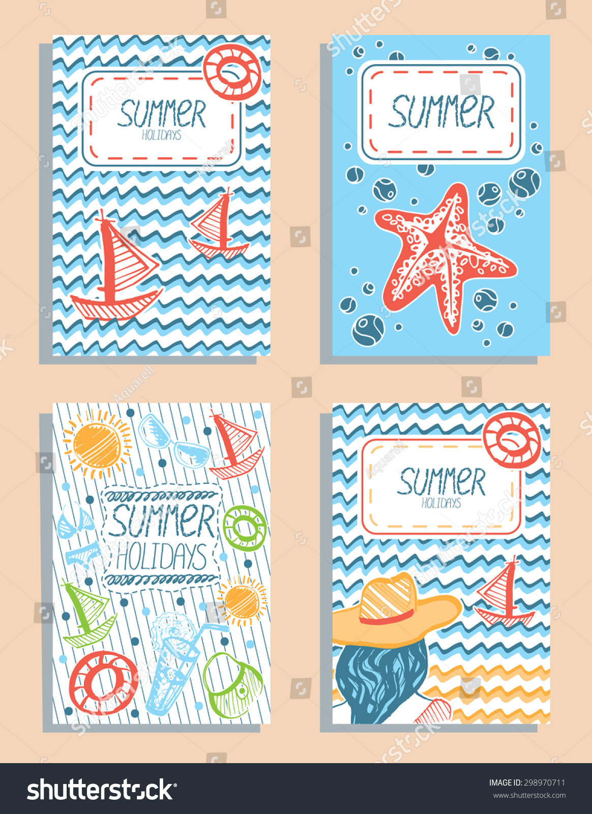 Set colorful vector summer holidays cards stock vector 298970711 set of colorful vector summer holidays cards hand drawn sea vacation greeting cards save kristyandbryce Image collections