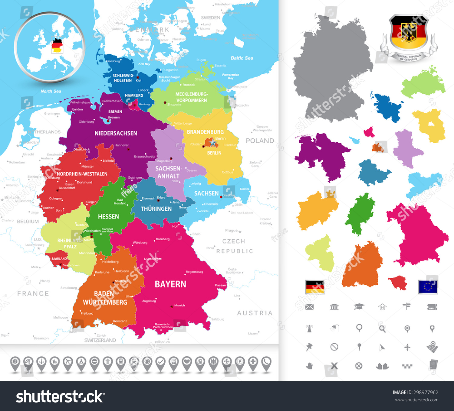 highly detailed political map of germany with administrative divisions states cities and navigation