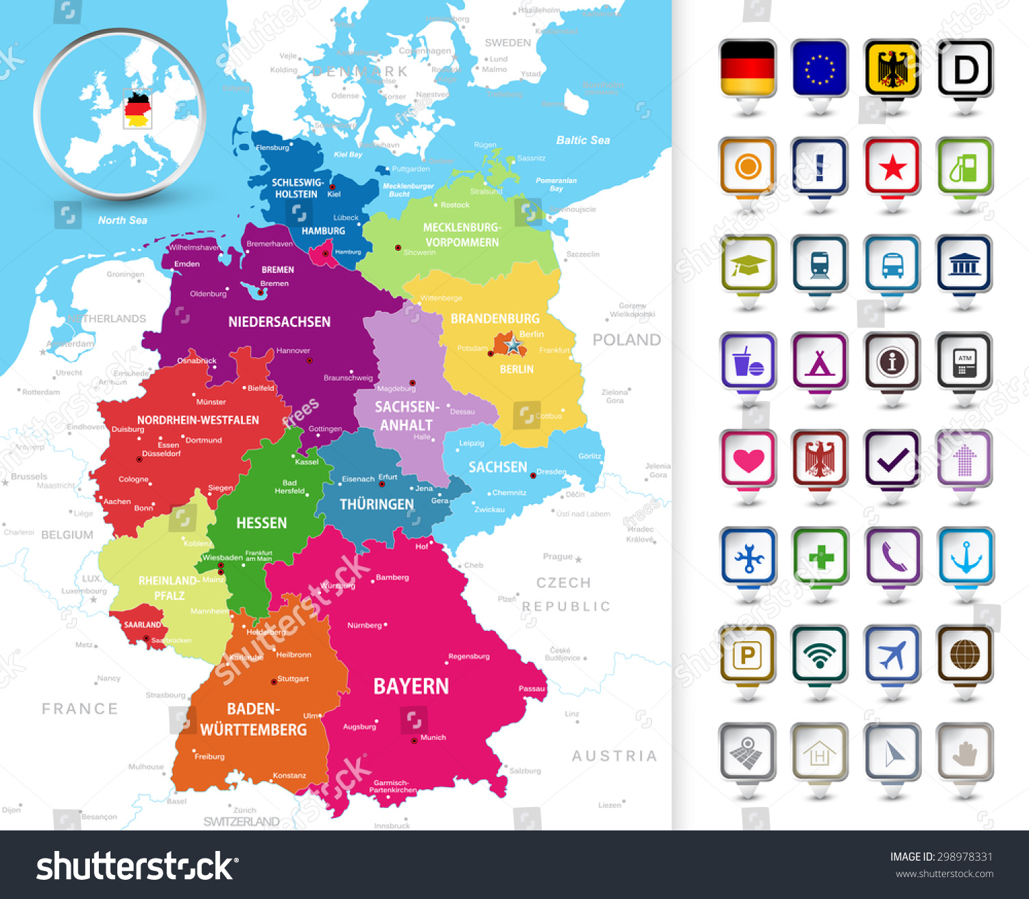 Highly Detailed Political Map Of Germany With Its Federal States – Map of German Cities and States