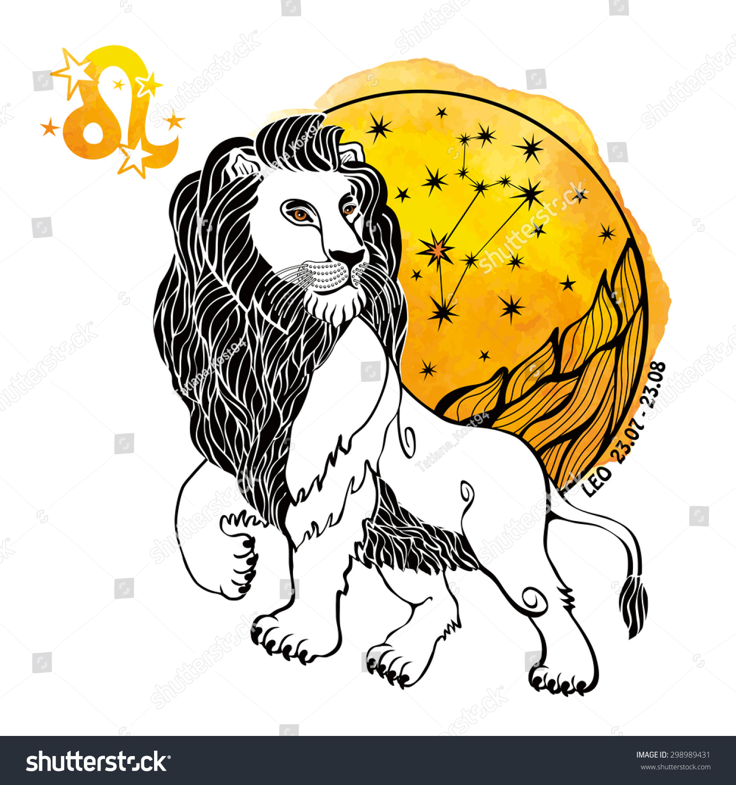 Leo Zodiac Sign Lion Horoscope Constellationstars Stock ...