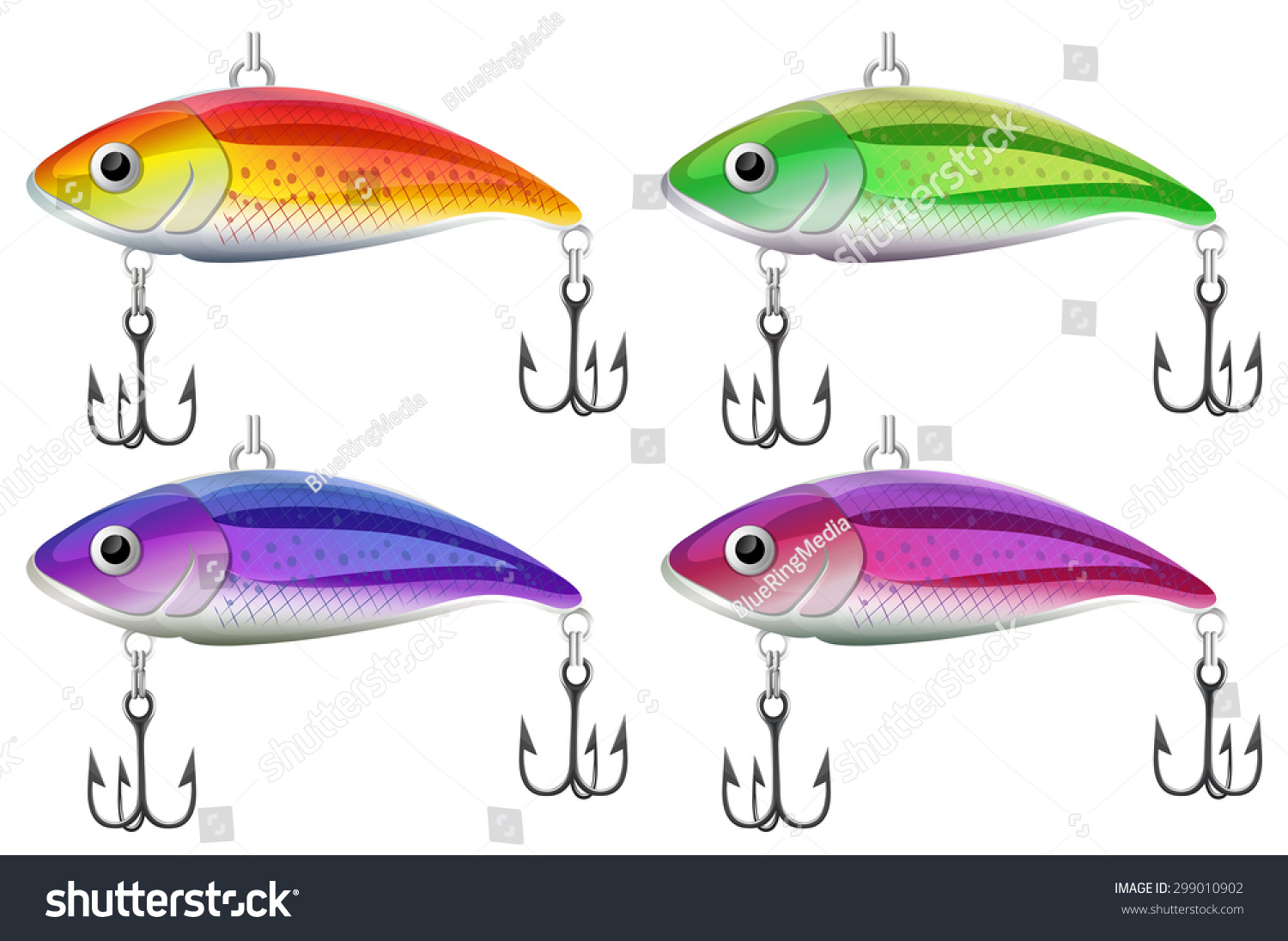 lure fishing in four different colors stock vector illustration, Hard Baits
