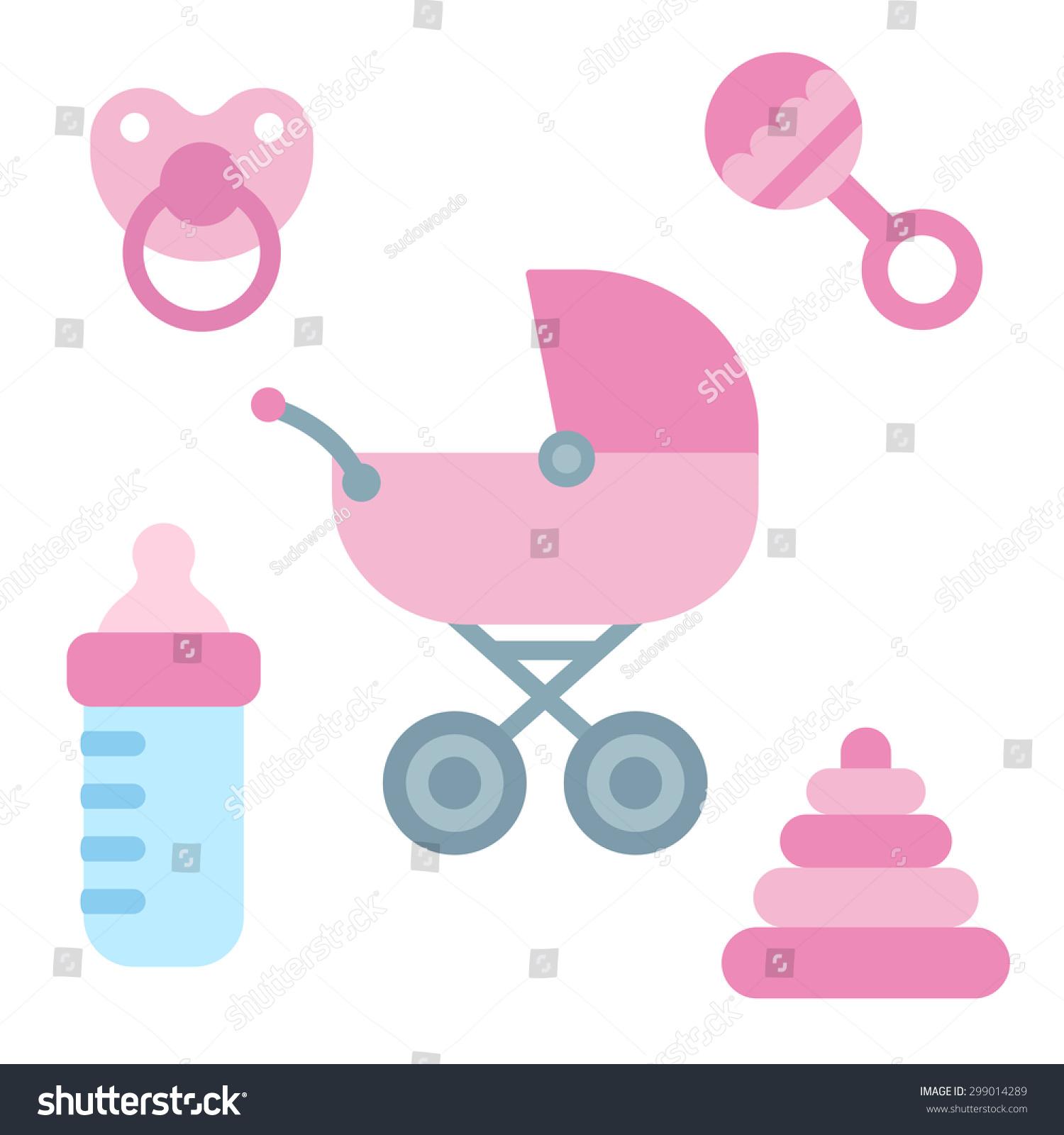 Cute Cartoon Newborn Baby Items Girly Stock Vector
