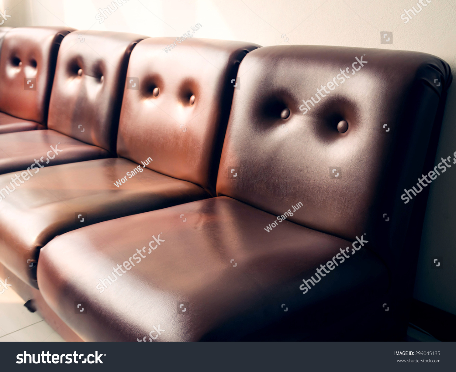 Brown Leather Sofa Vintage Style Color Stock Photo 299045135  ~ Leather Sofa Vintage Style