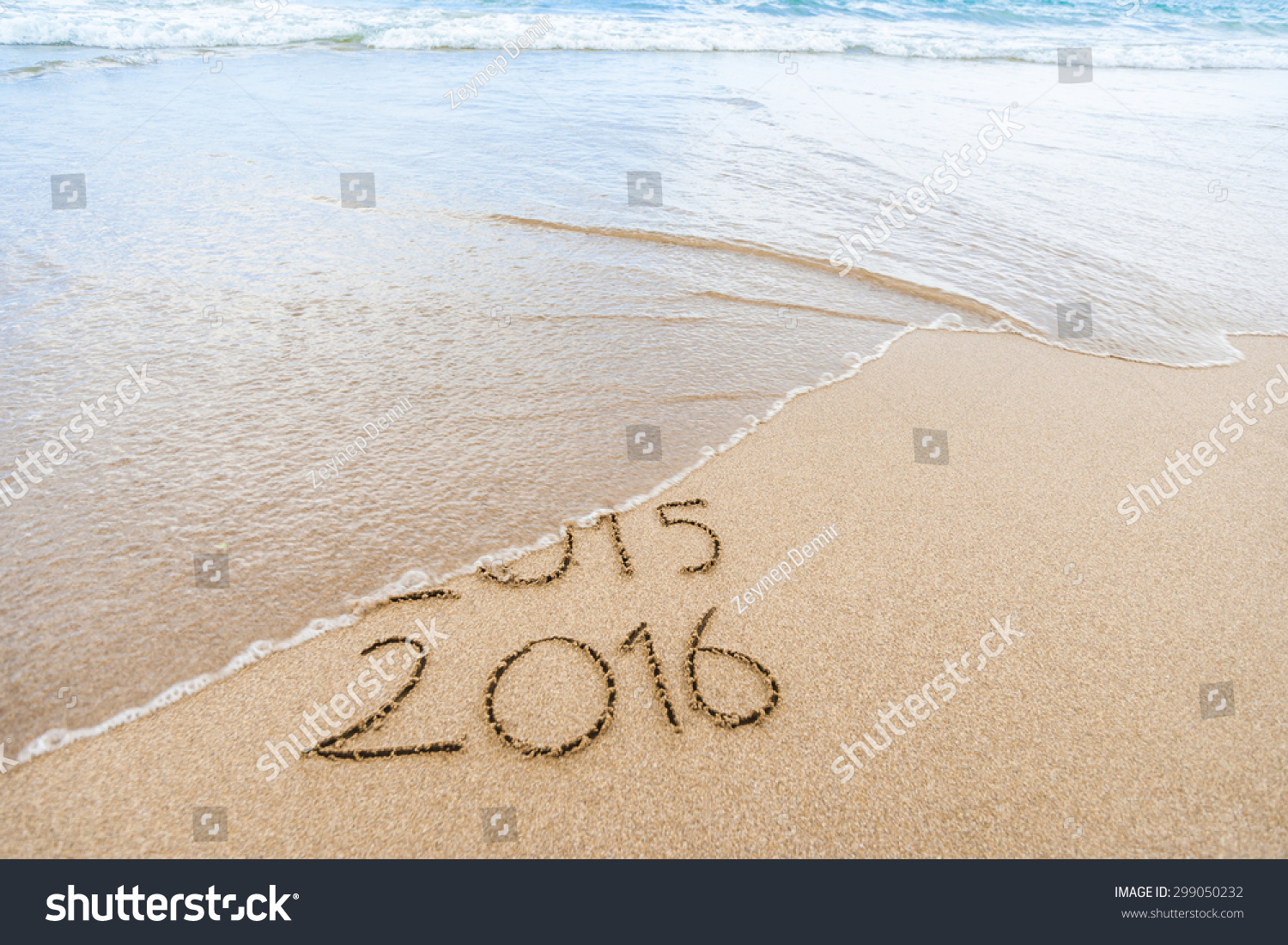 New Year 2016 is coming concept Happy New Year 2016 replace 2015 concept on the sea beach