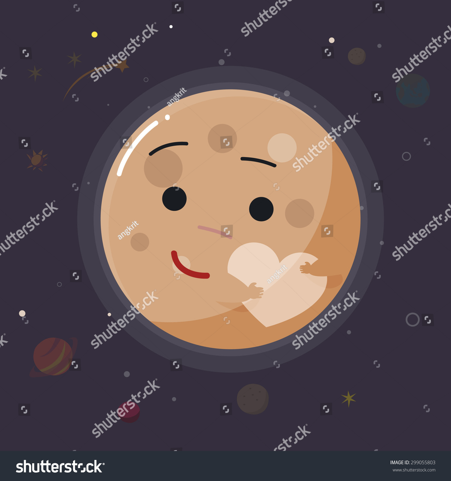 Cute Pluto Planet Vector Illustration Stock Vector 299055803 ...