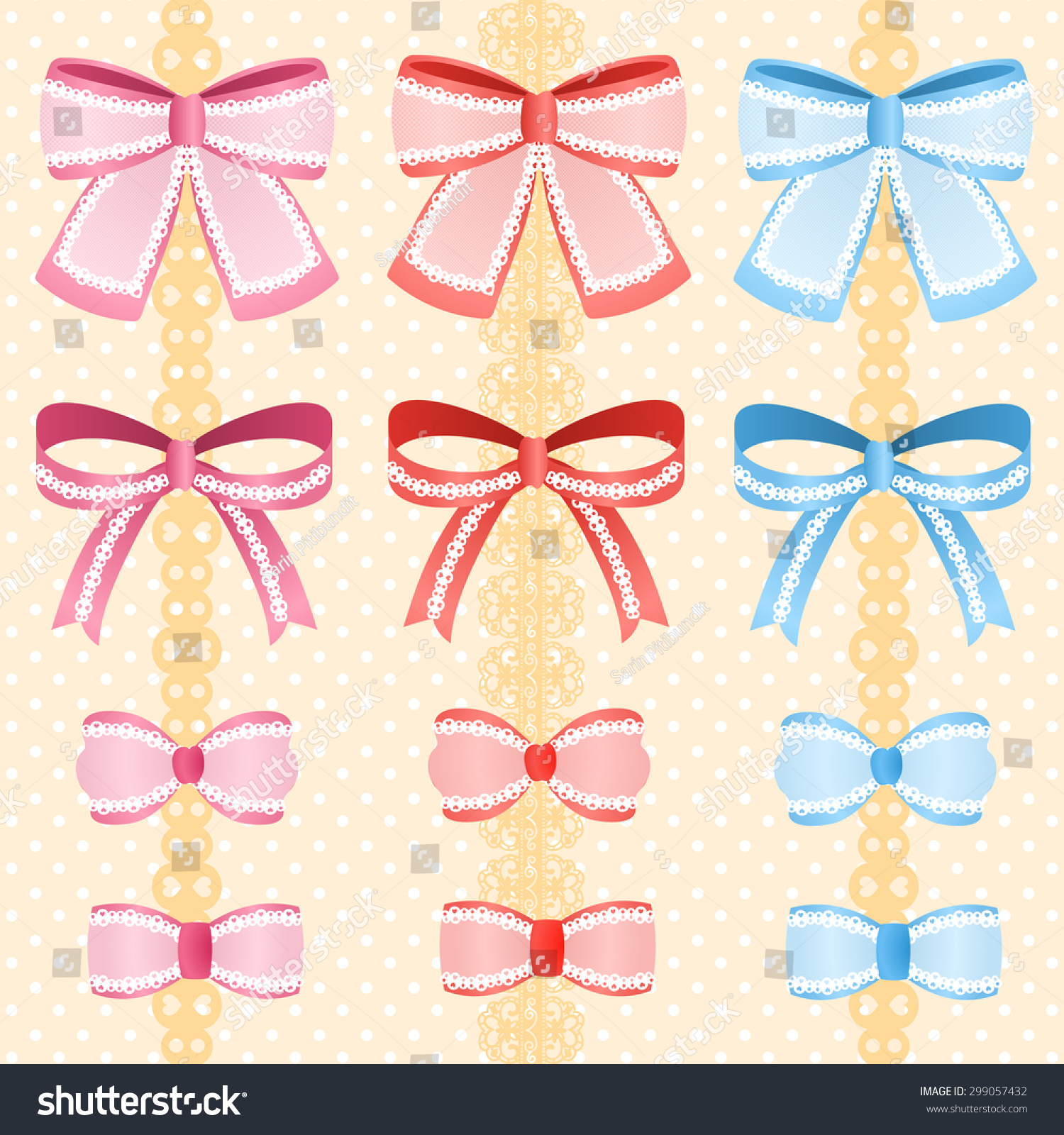 Cute Silky Or Satin Lace Ribbon Bow For Decorate On Background Set