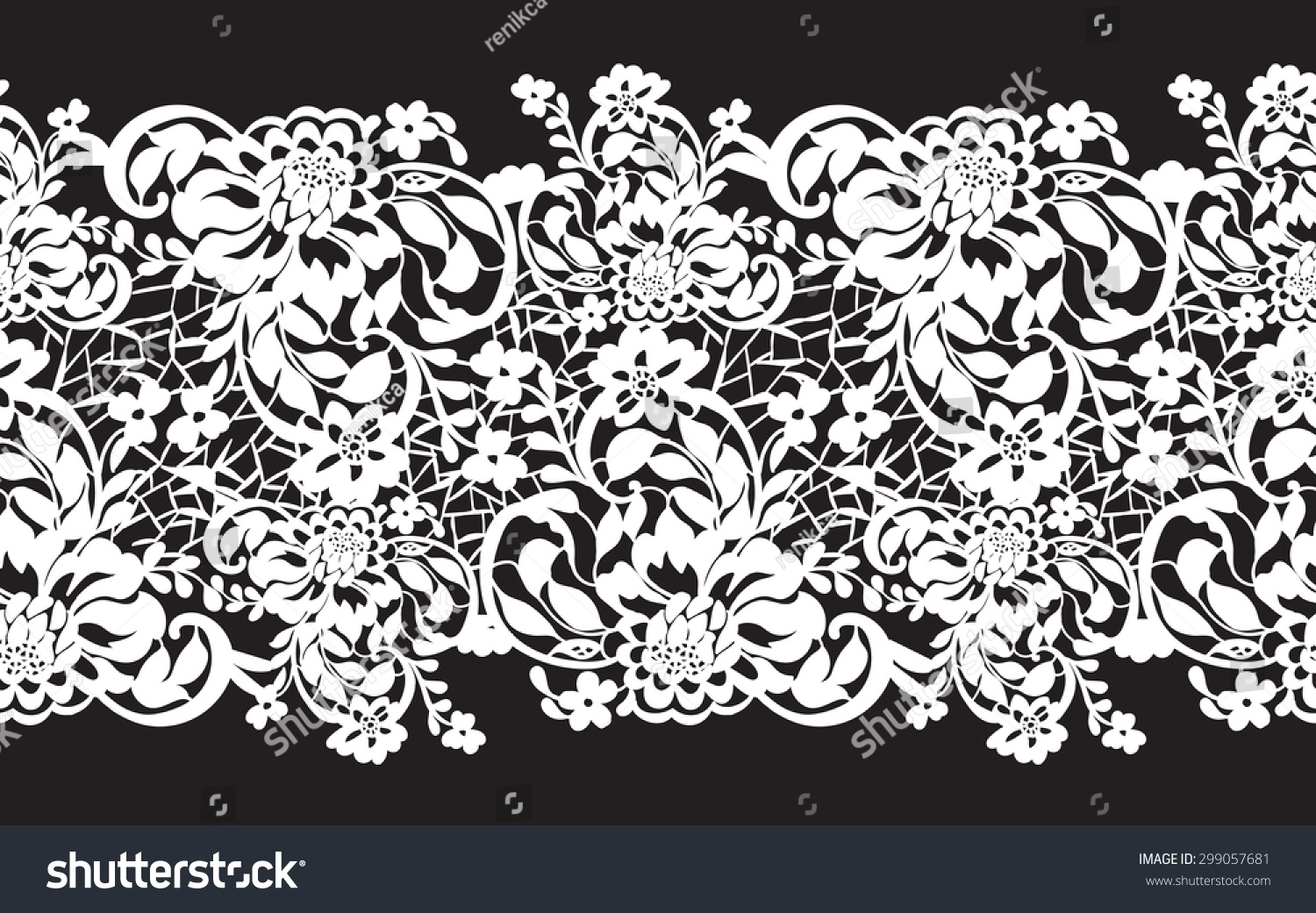 Delicate White Lace Flowers On Black Stock Vector Royalty Free