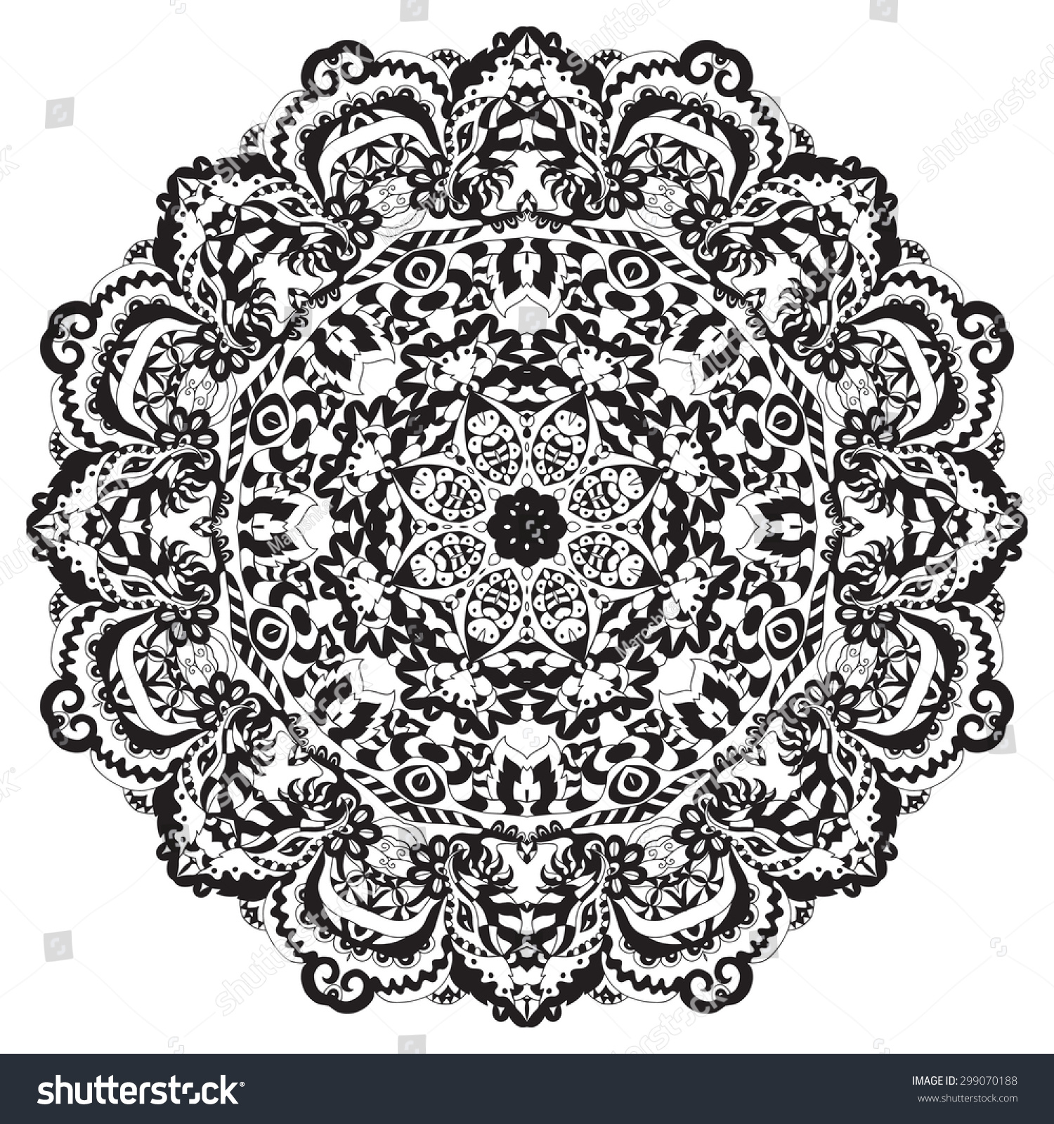ethnic round ornament hand drawn mandala stock vector. Black Bedroom Furniture Sets. Home Design Ideas