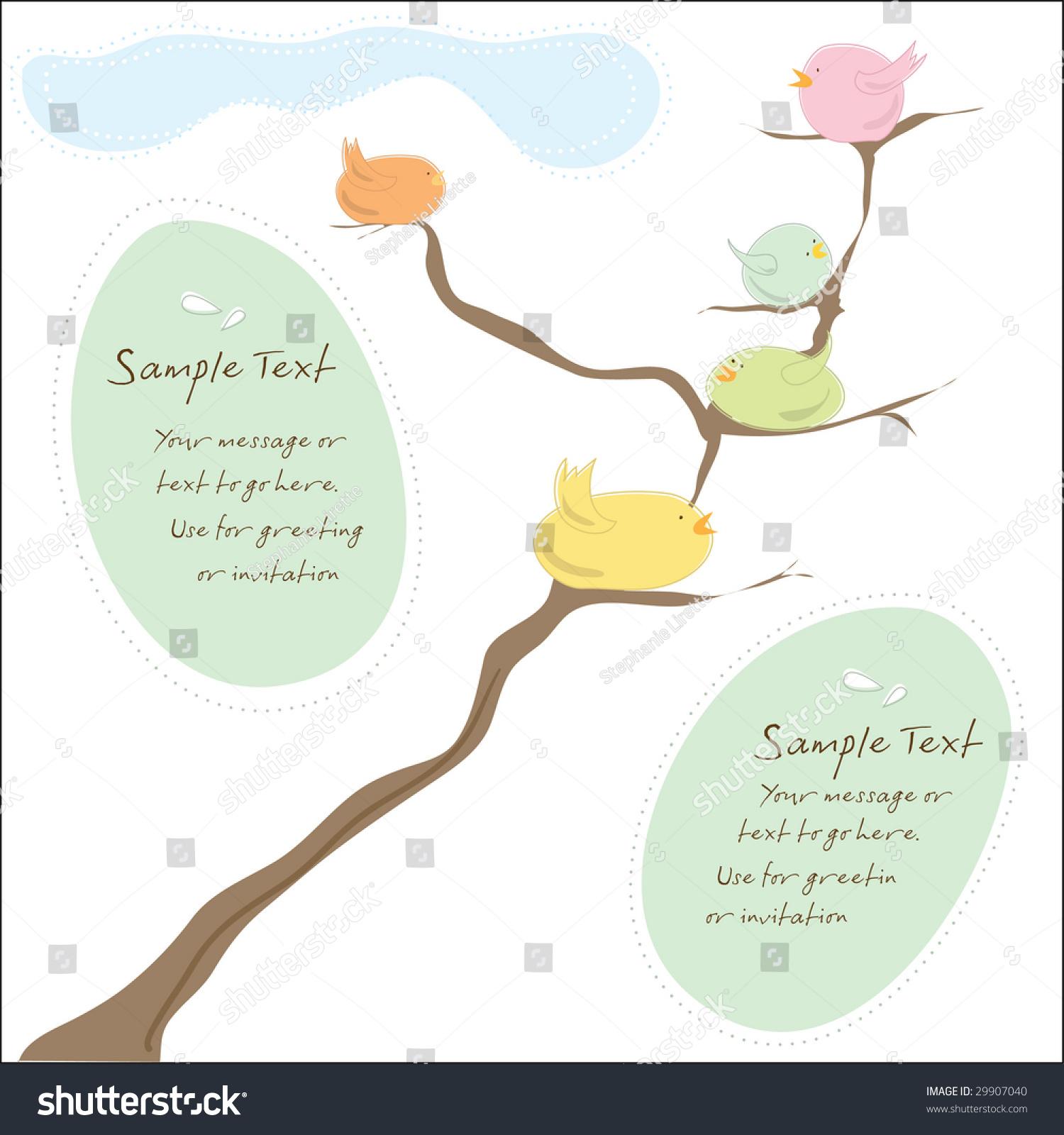 Bird Family Invitation Greeting Card Wedding Stock Vector 29907040
