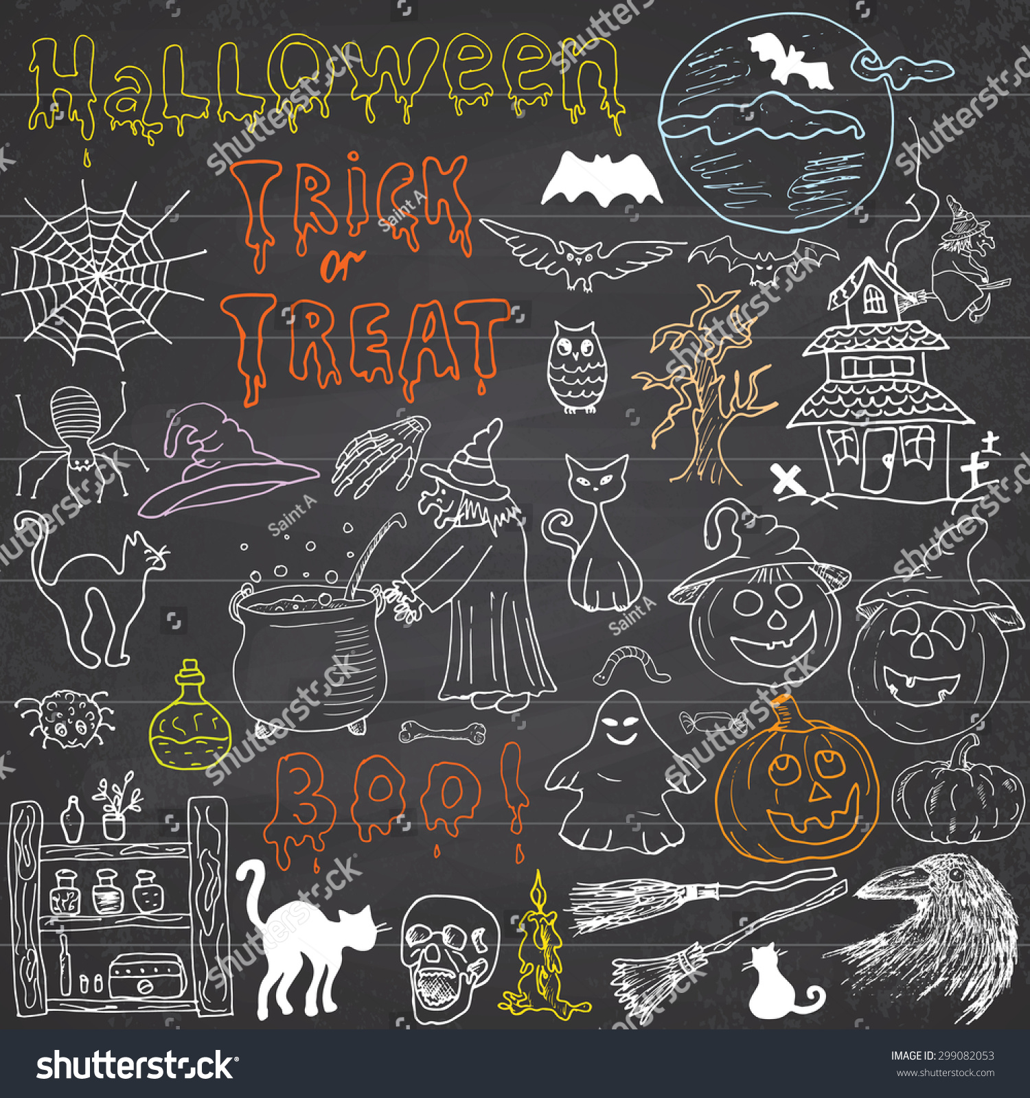 Sketch of halloween design elements with pumpkin witch black cat ghost skull bats spiders with web Doodles set with Lettering Hand-Drawn Vector Illustration on chalkboard background